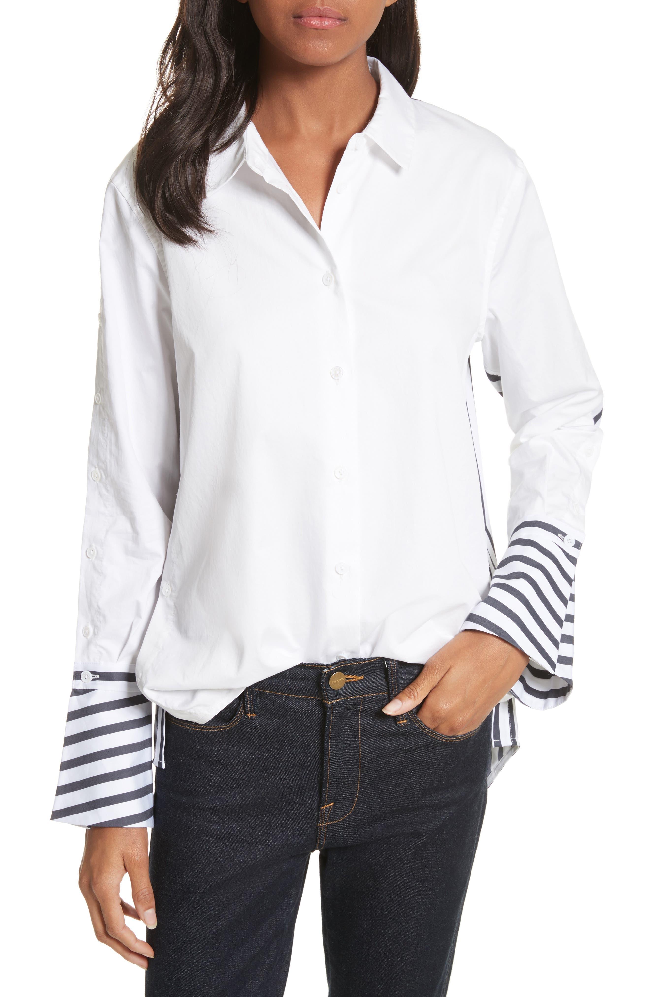 Rossi Contrast Stripe Button Down Shirt,                         Main,                         color, Bright White/ Eclipse