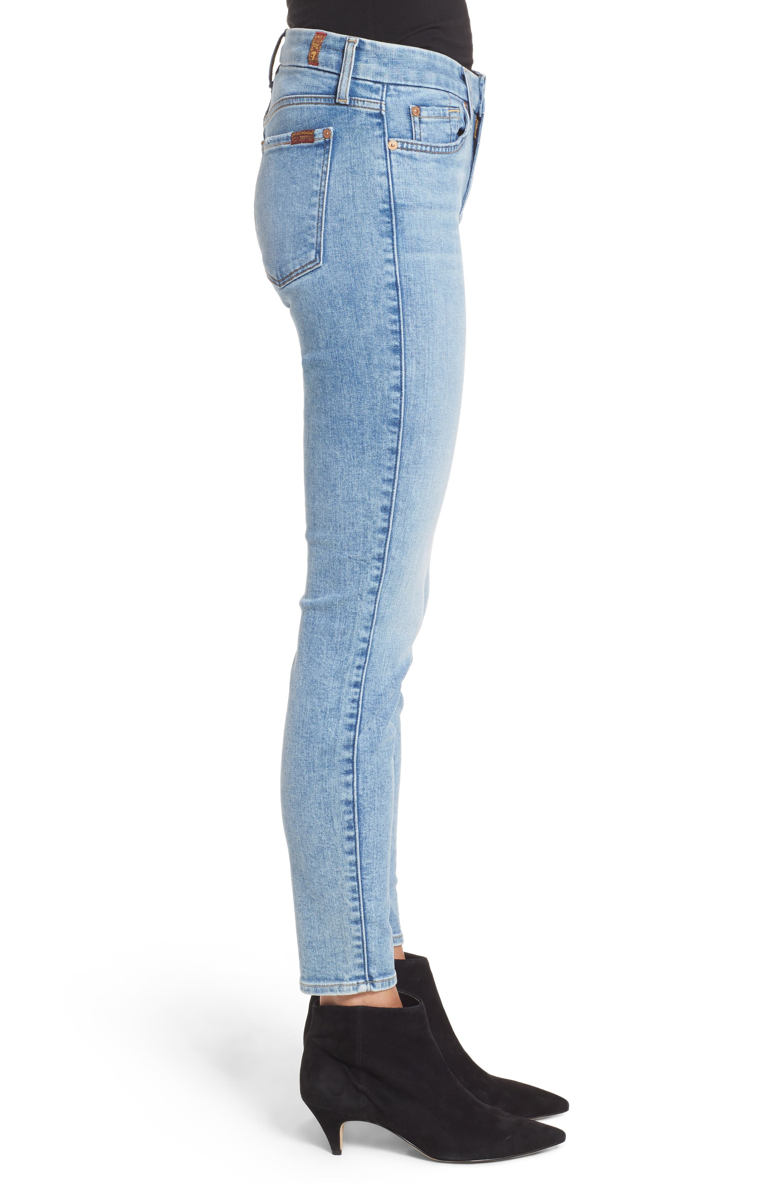 Embellished & Ripped Ankle Skinny Jeans,                             Alternate thumbnail 3, color,                             Radiant Wythe