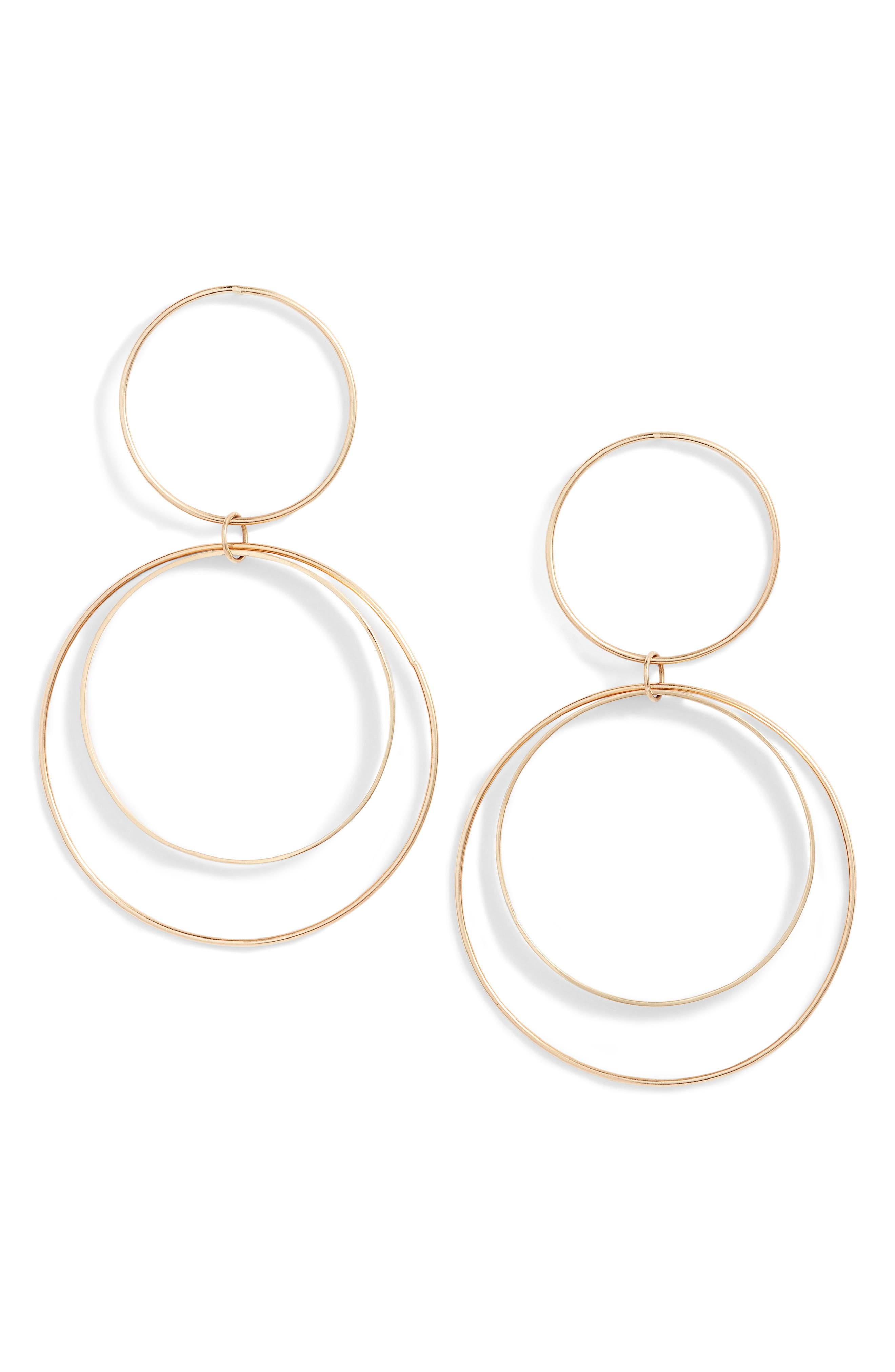 Two Tier Circle Drop Earrings,                             Main thumbnail 1, color,                             Yellow Gold