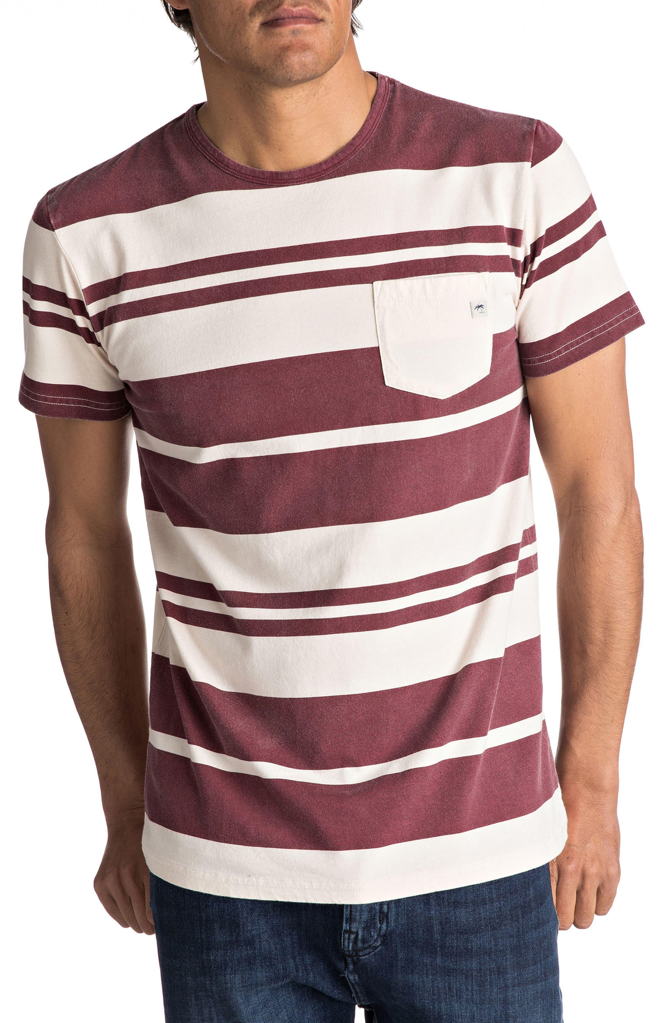 Lokea Stripe Pocket T-Shirt,                             Main thumbnail 1, color,                             Pomegranate Lokea