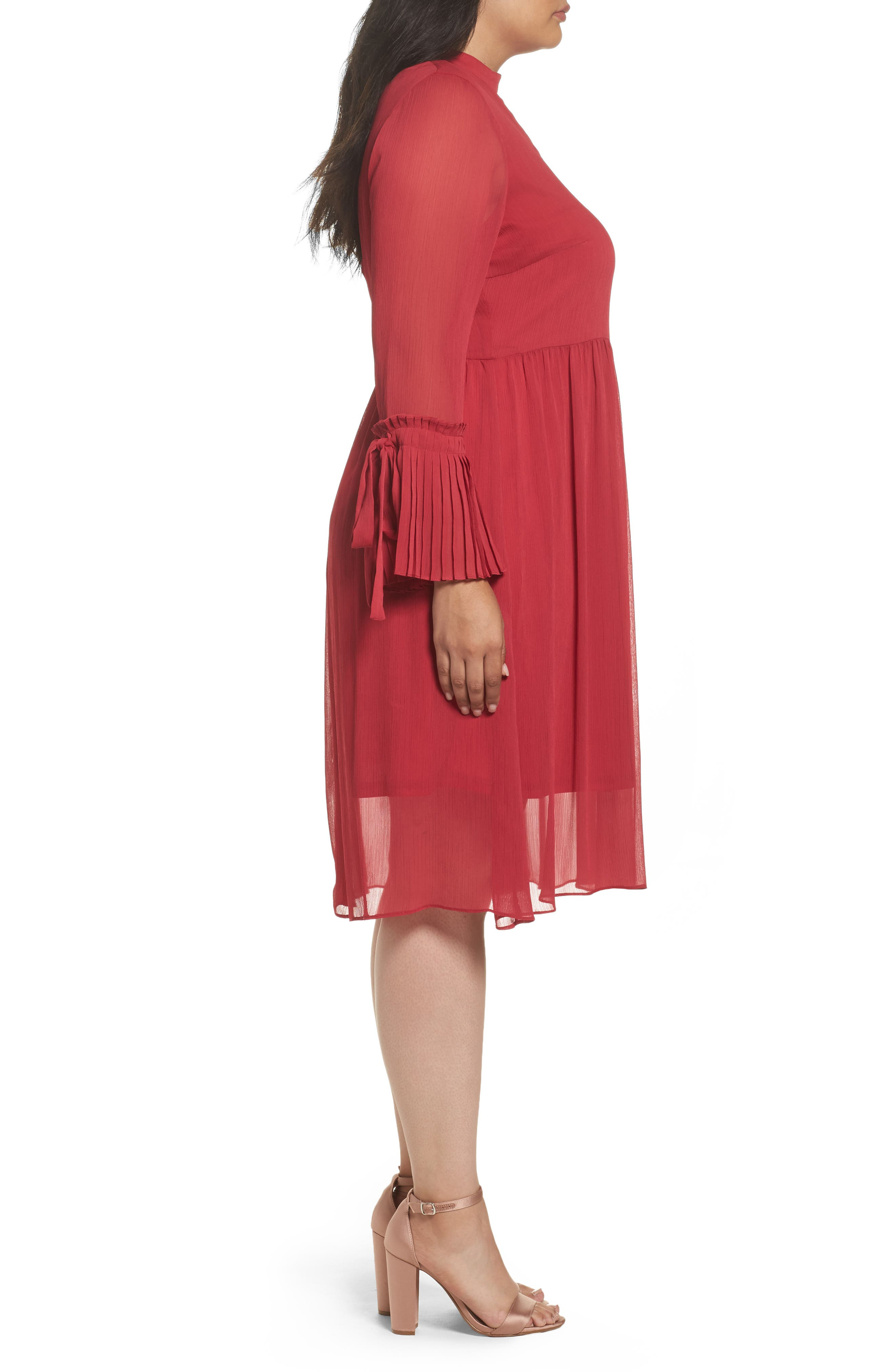 Pleat Cuff Fit & Flare Dress,                             Alternate thumbnail 4, color,                             Pink