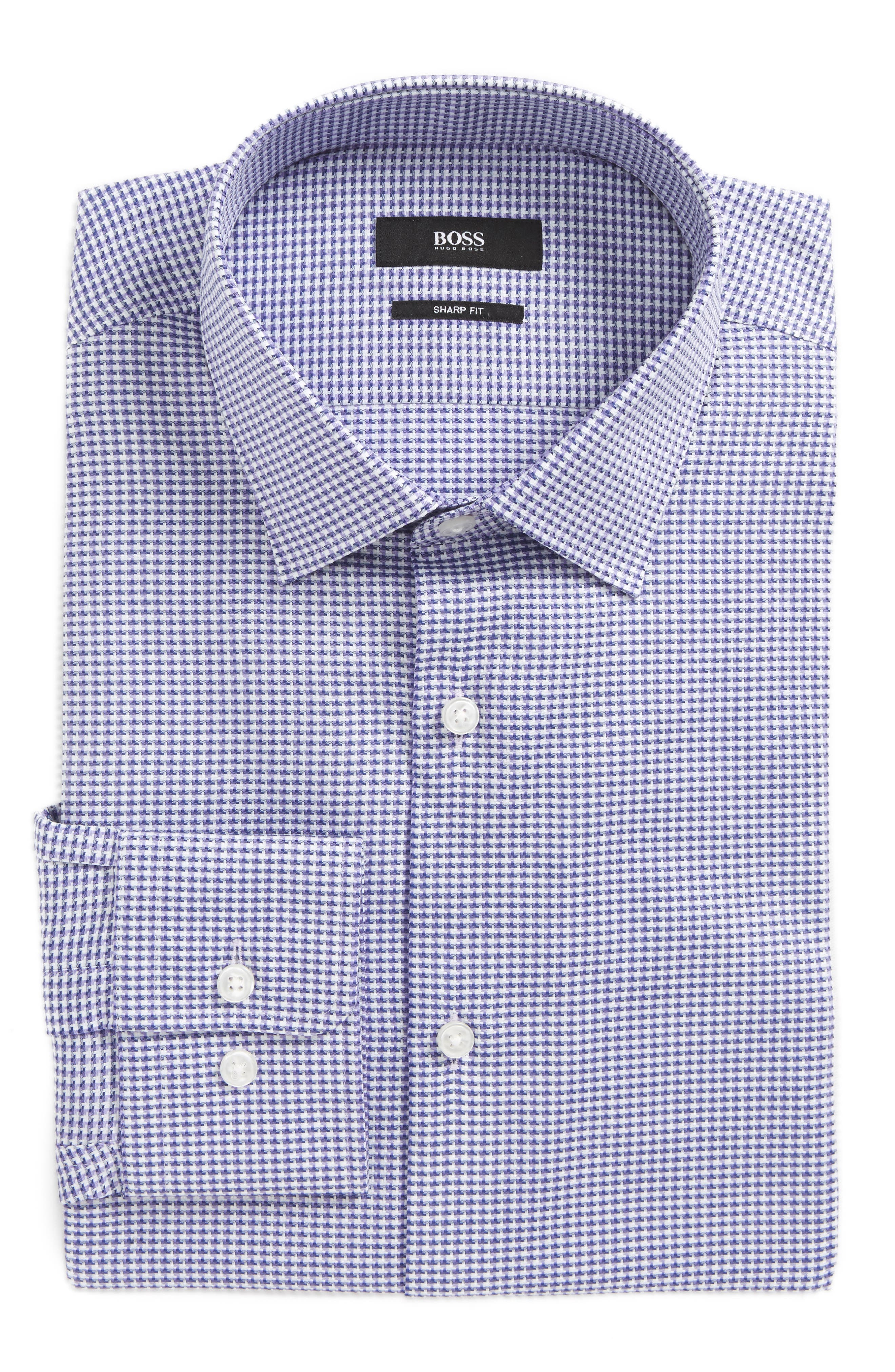 Marley Sharp Fit Check Dress Shirt,                             Main thumbnail 1, color,                             Purple