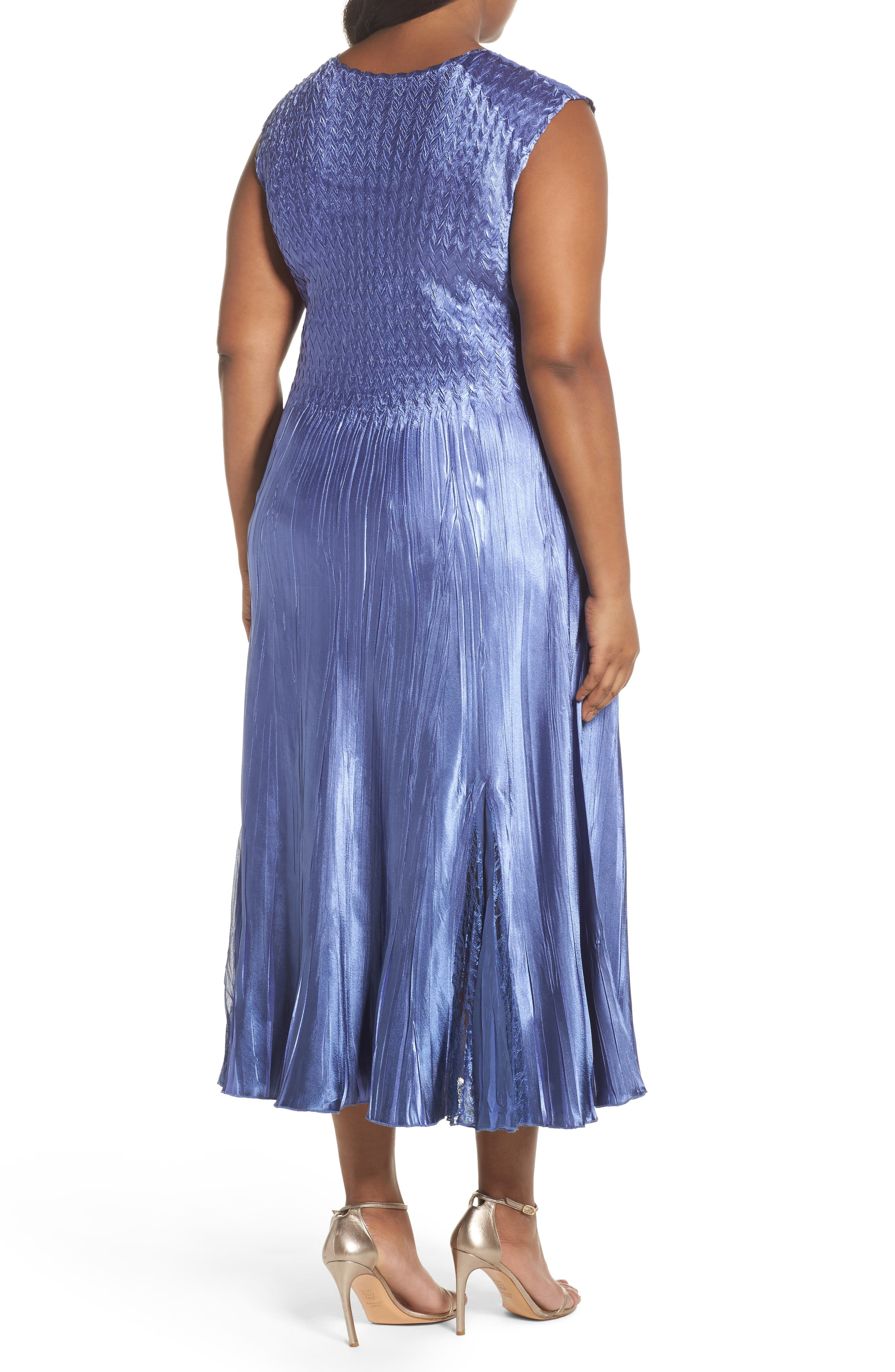 Lace Inset Charmeuse Dress with Chiffon Jacket,                             Alternate thumbnail 3, color,                             Blue Ombre
