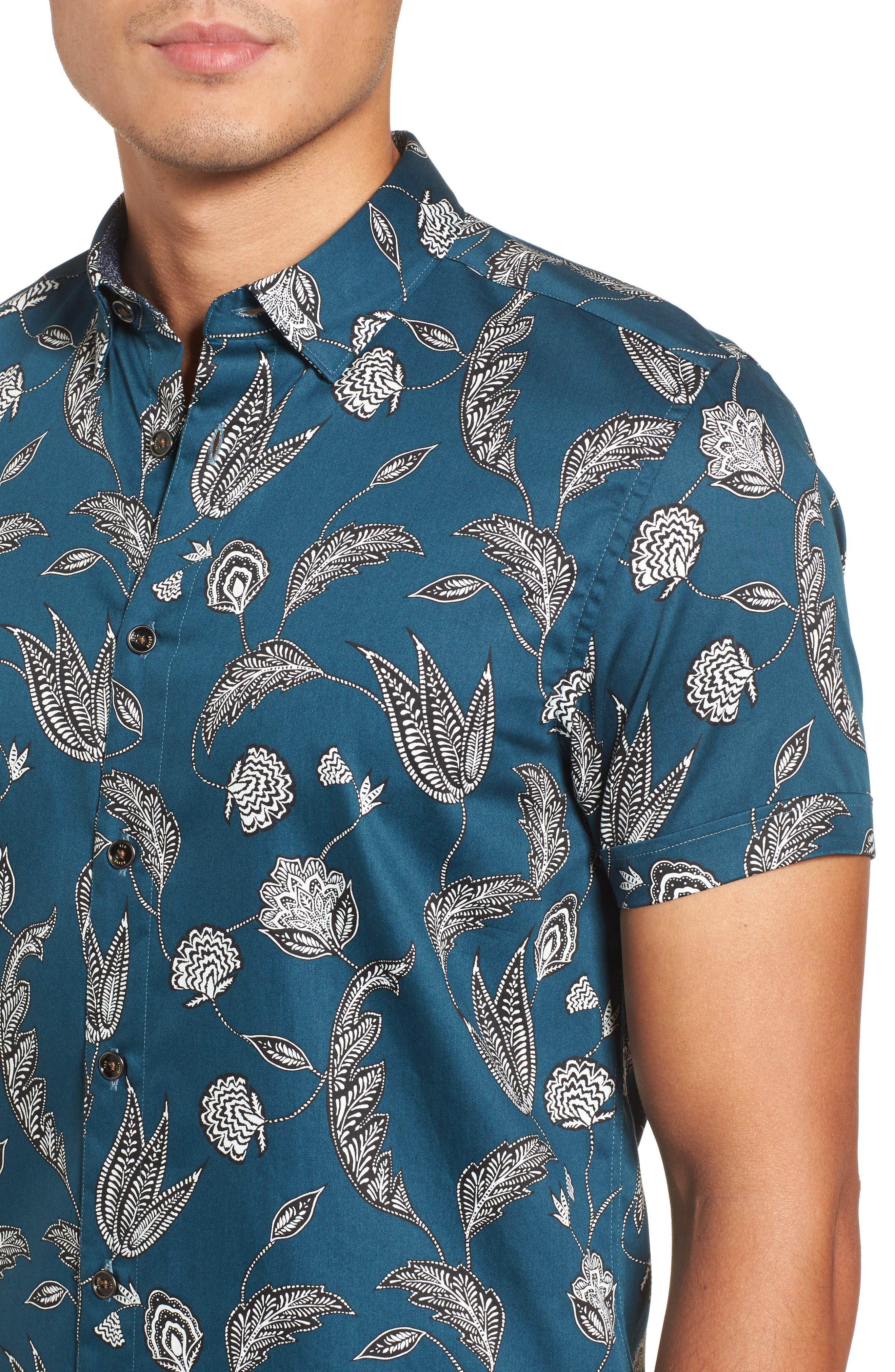 UTKU Floral Sport Shirt,                             Alternate thumbnail 4, color,                             Dark Green