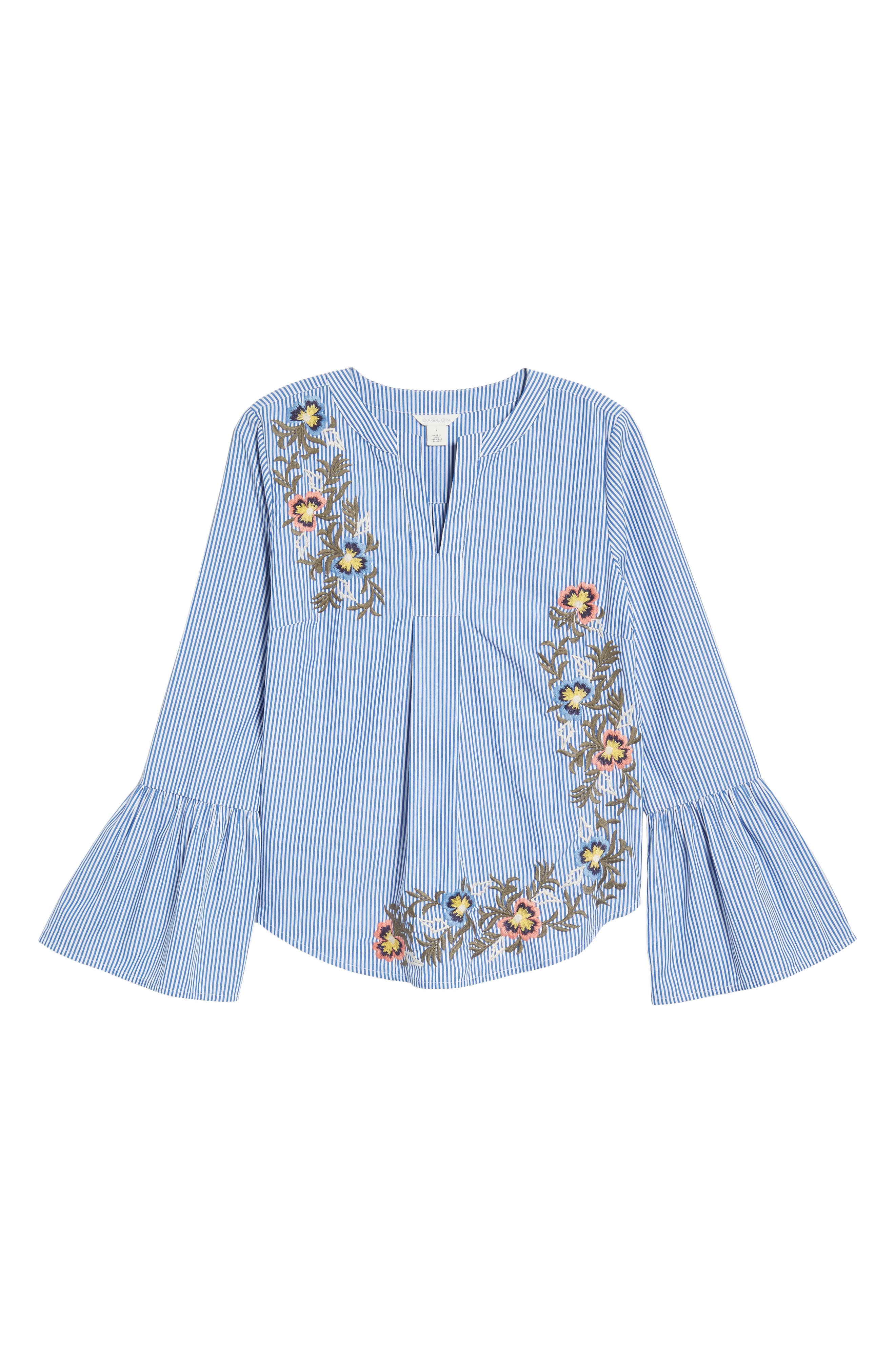 Embroidered Bell Sleeve Top,                             Alternate thumbnail 5, color,                             Blue- White Pattern