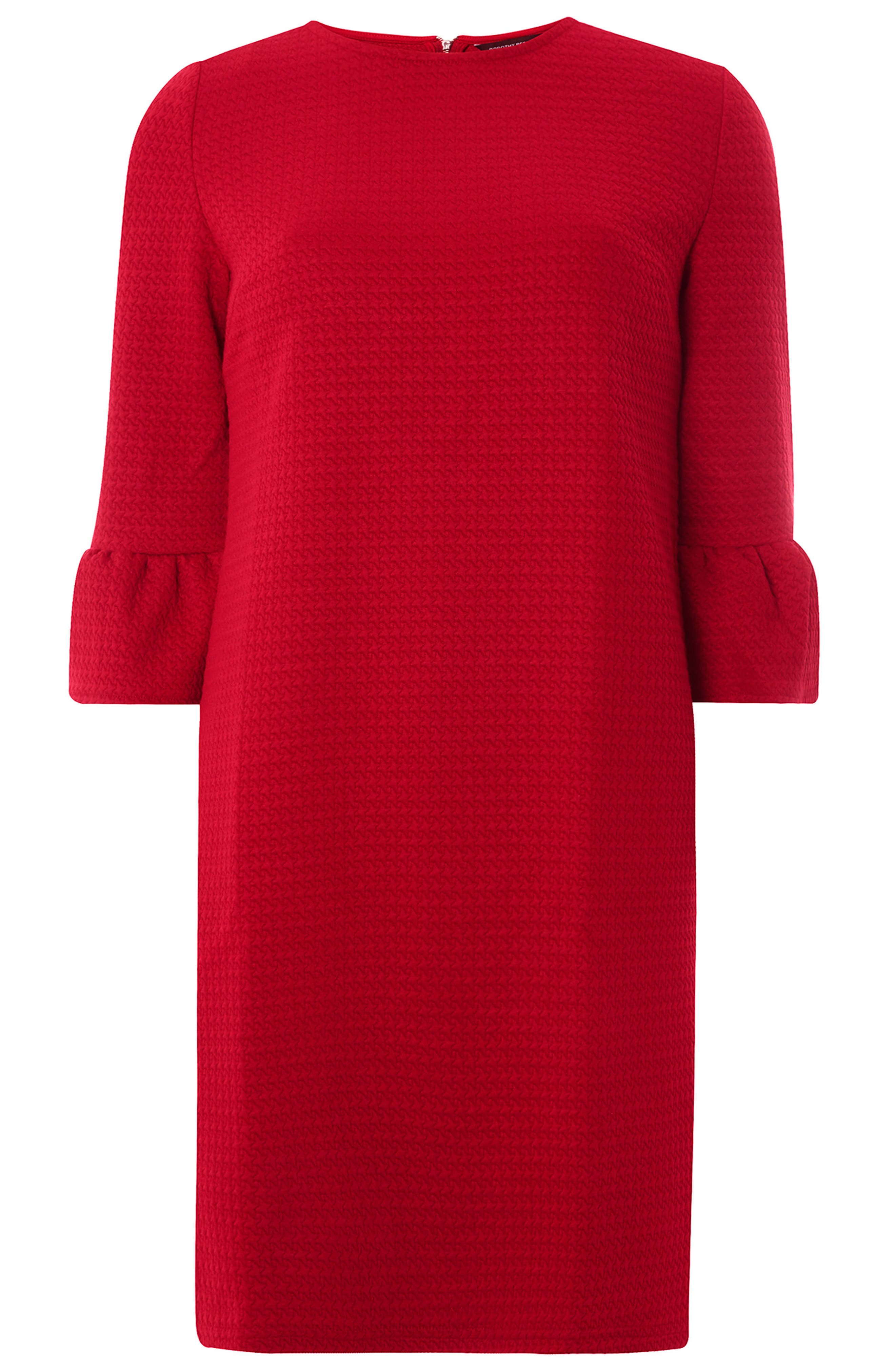 Ruffle Sleeve Shift Dress,                             Alternate thumbnail 5, color,                             Red