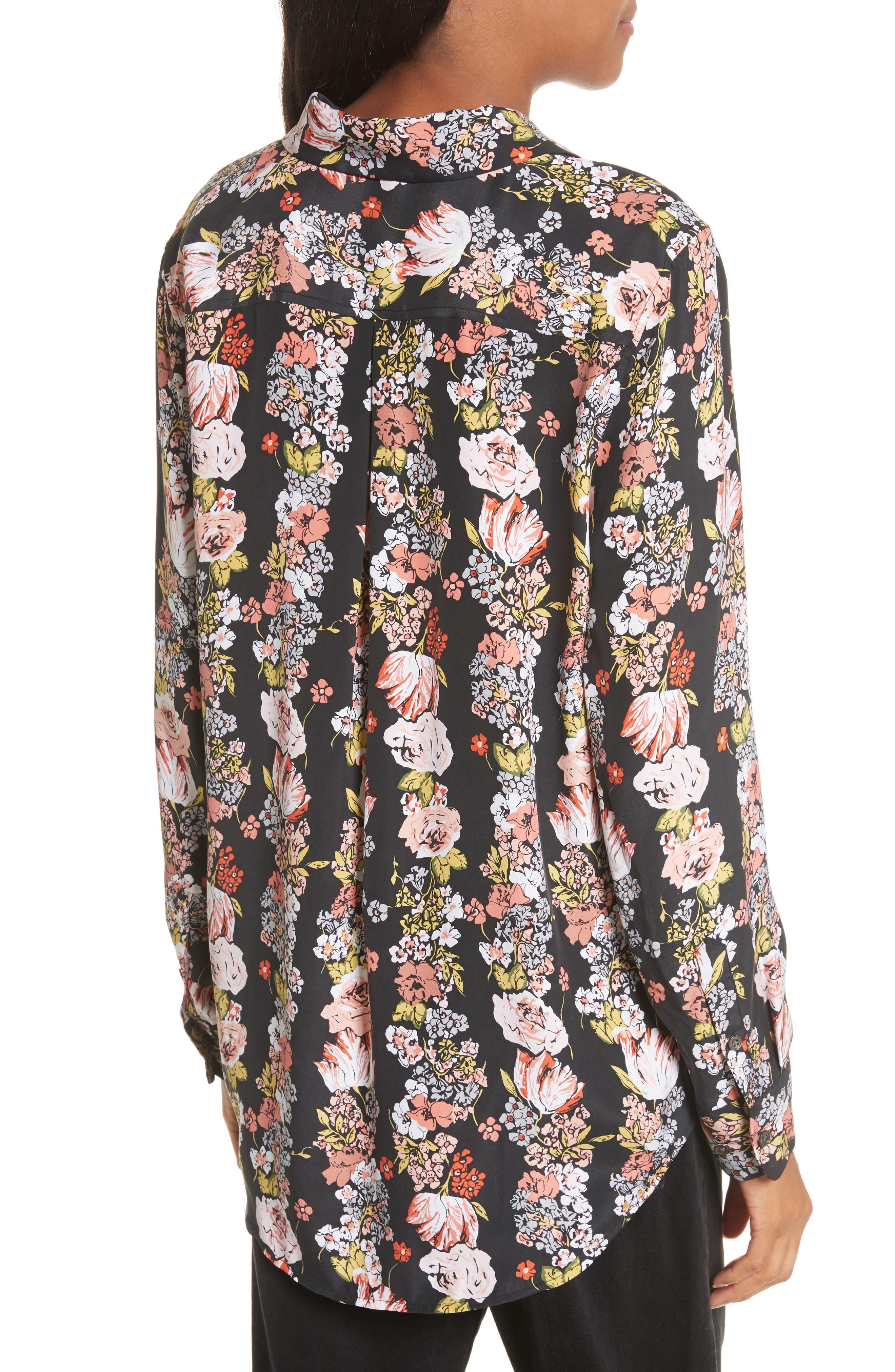 Essential Floral Silk Shirt,                             Alternate thumbnail 2, color,                             True Black Multi