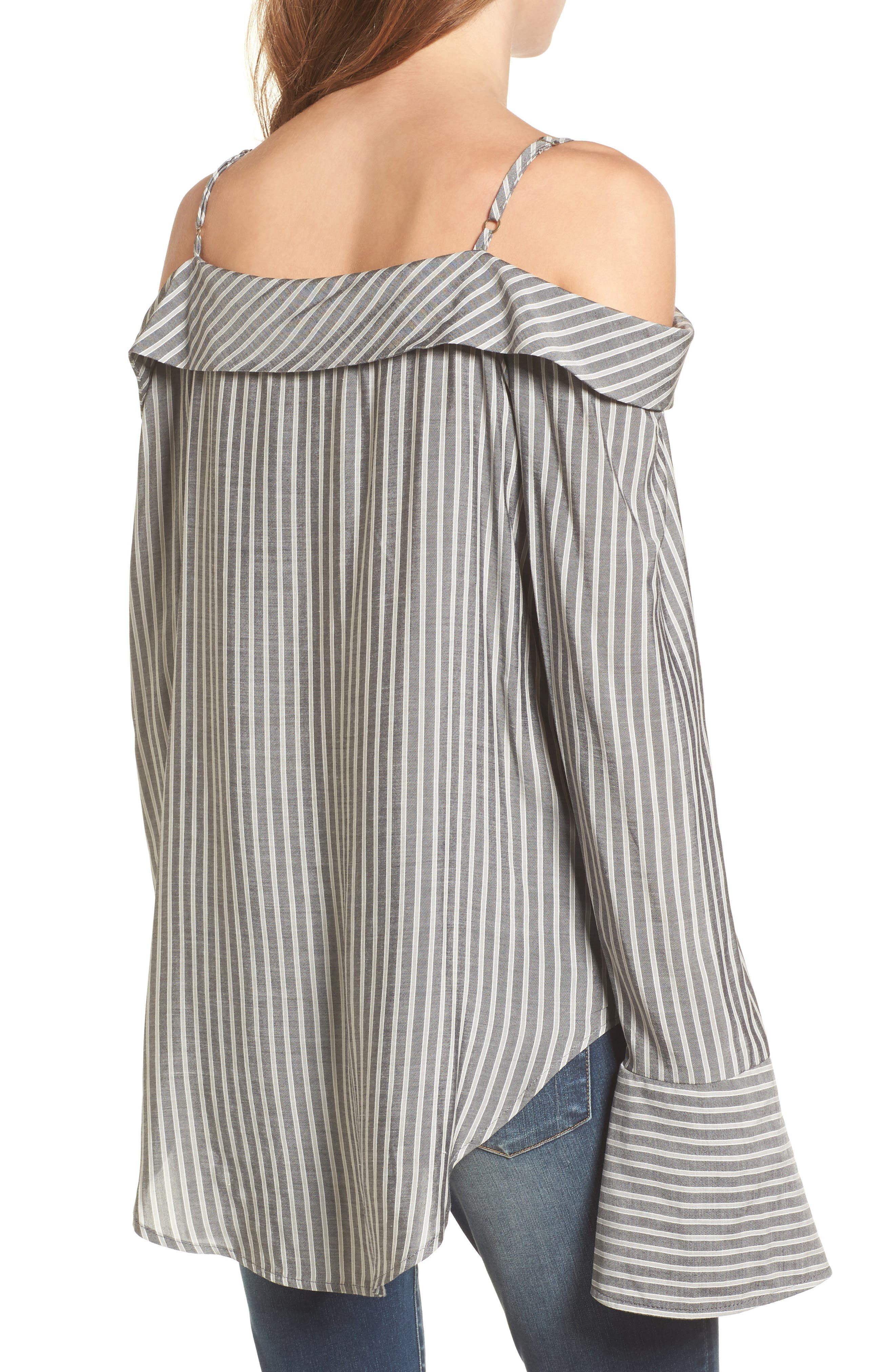 Flare Cuff Cold Shoulder Top,                             Alternate thumbnail 2, color,                             Stripe
