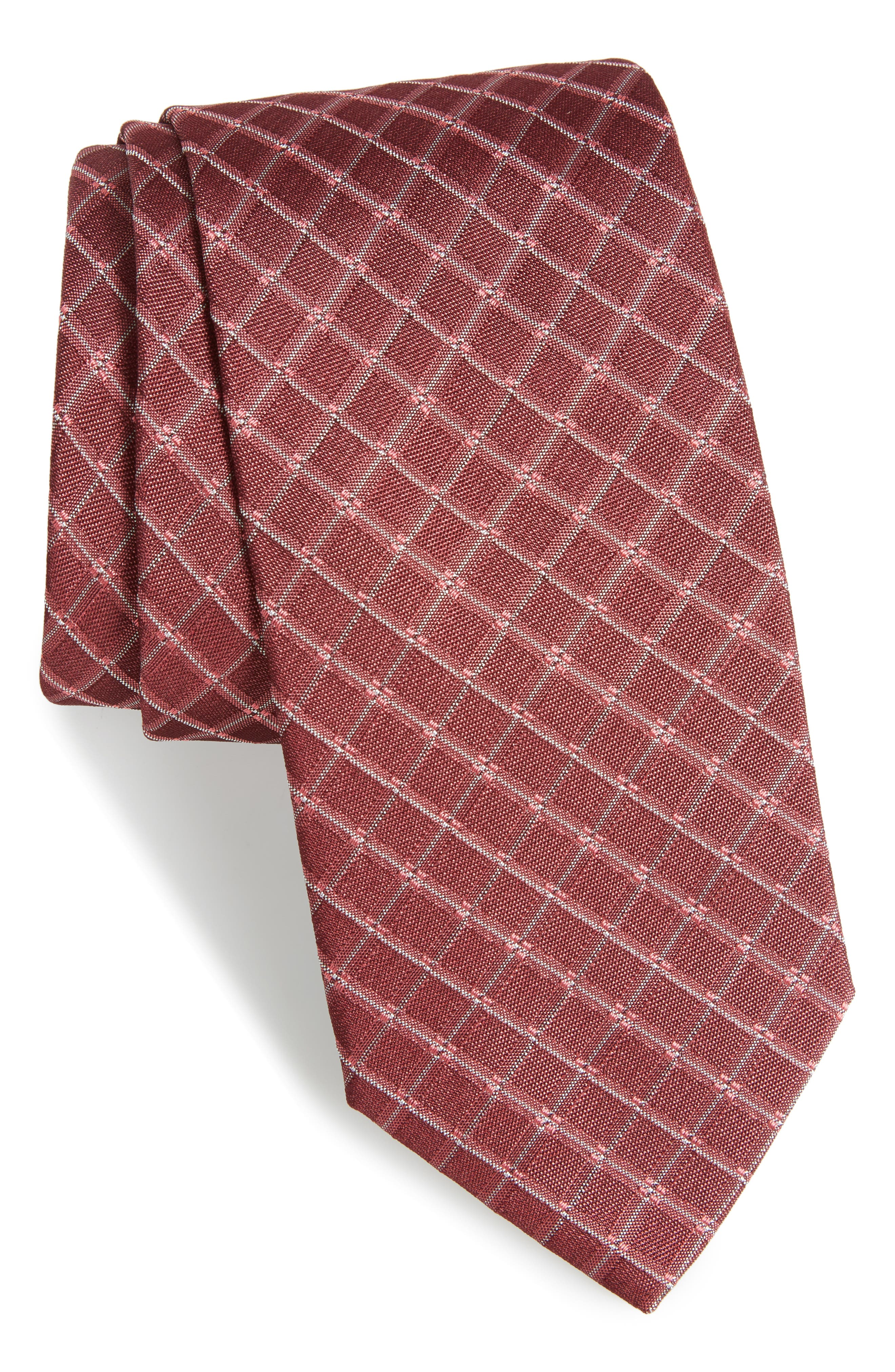 Plaid Silk Skinny Tie,                             Main thumbnail 1, color,                             Red
