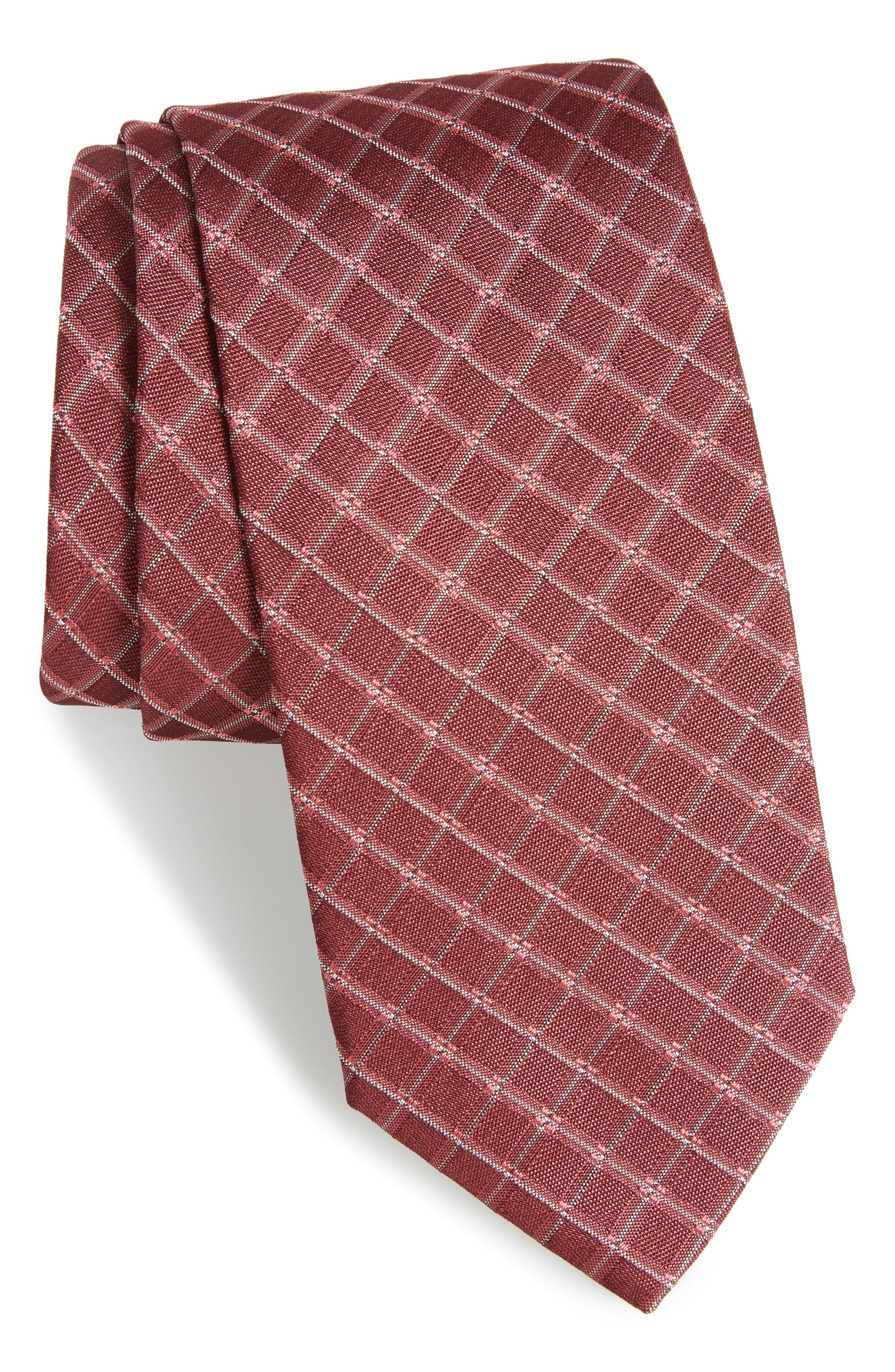 Plaid Silk Skinny Tie,                         Main,                         color, Red