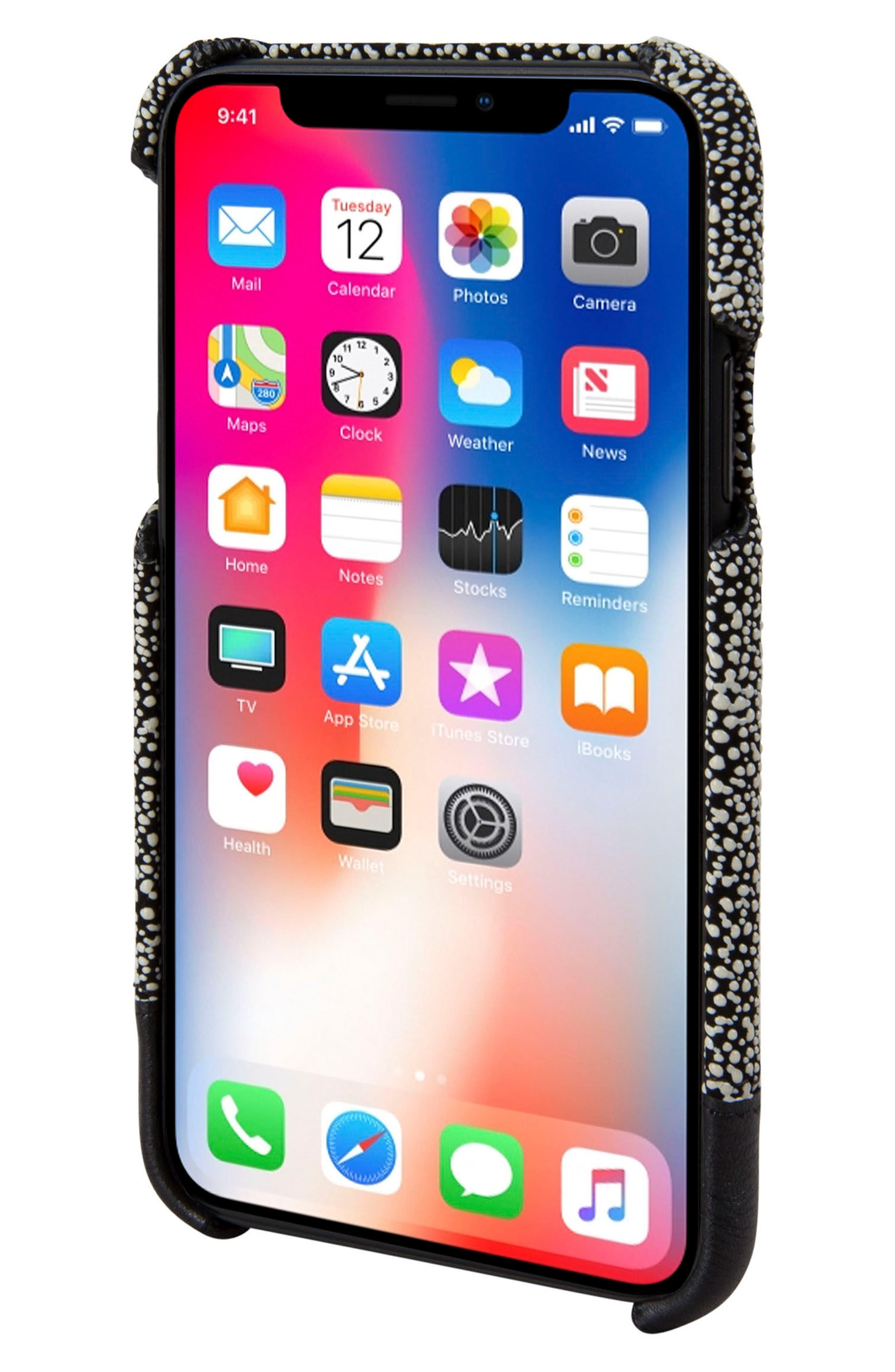Focus Leather iPhone X Case,                             Alternate thumbnail 2, color,                             Black/ White Stingray