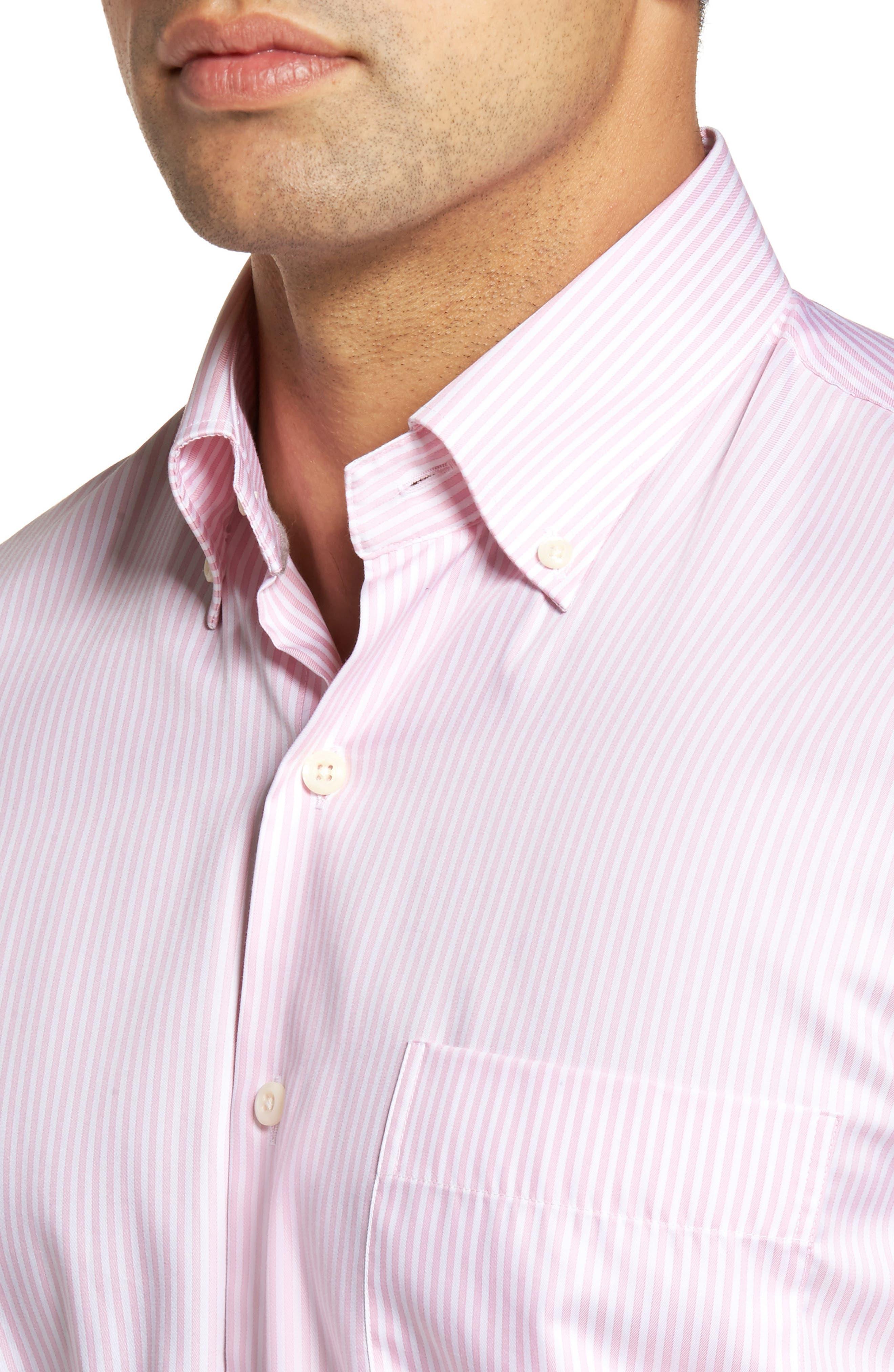 Classic Fit Crown Soft Longshot Stripe Sport Shirt,                             Alternate thumbnail 4, color,                             Piglet Pink