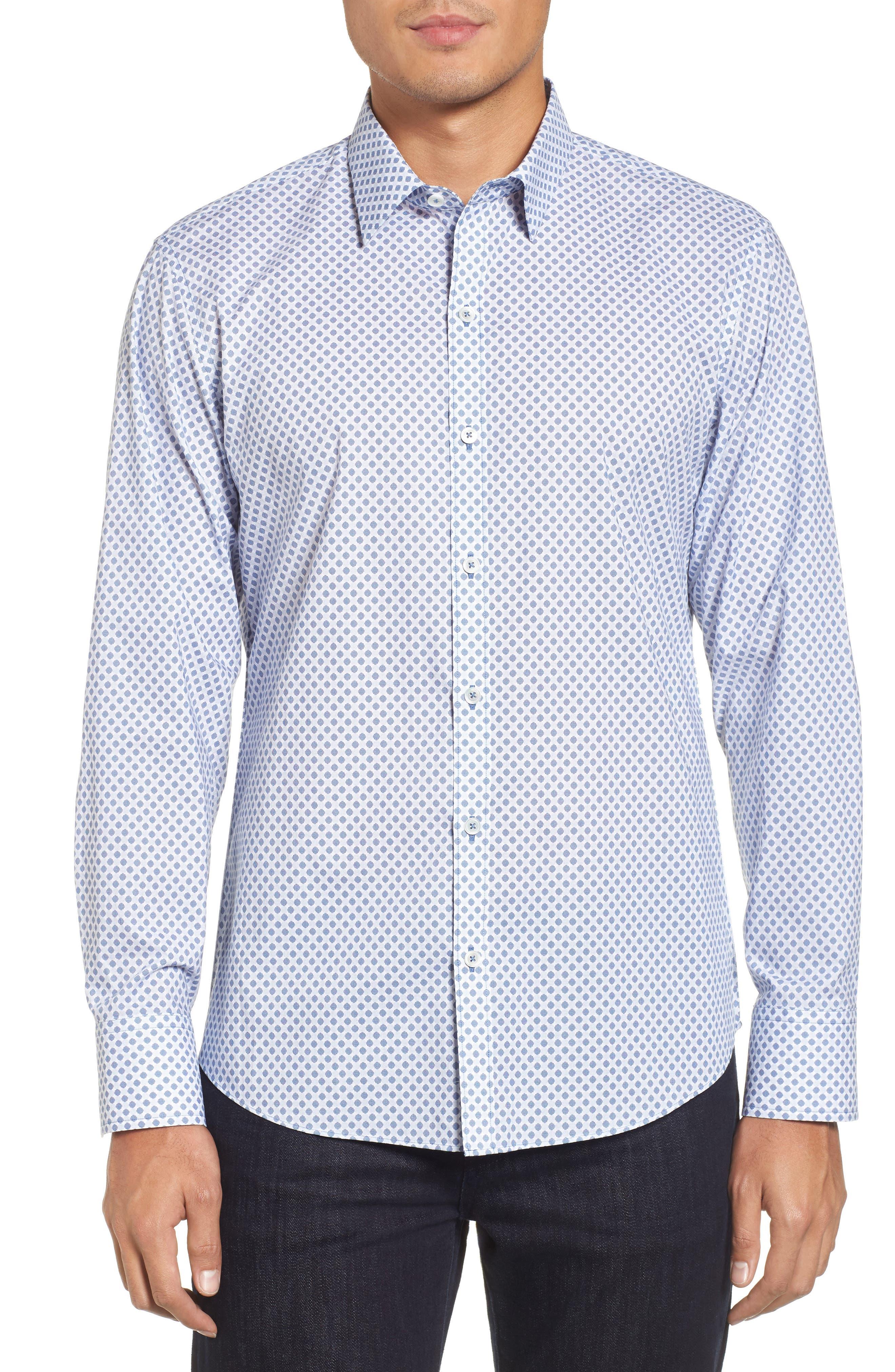 Obi Slim Fit Circle Print Sport Shirt,                             Main thumbnail 1, color,                             Navy