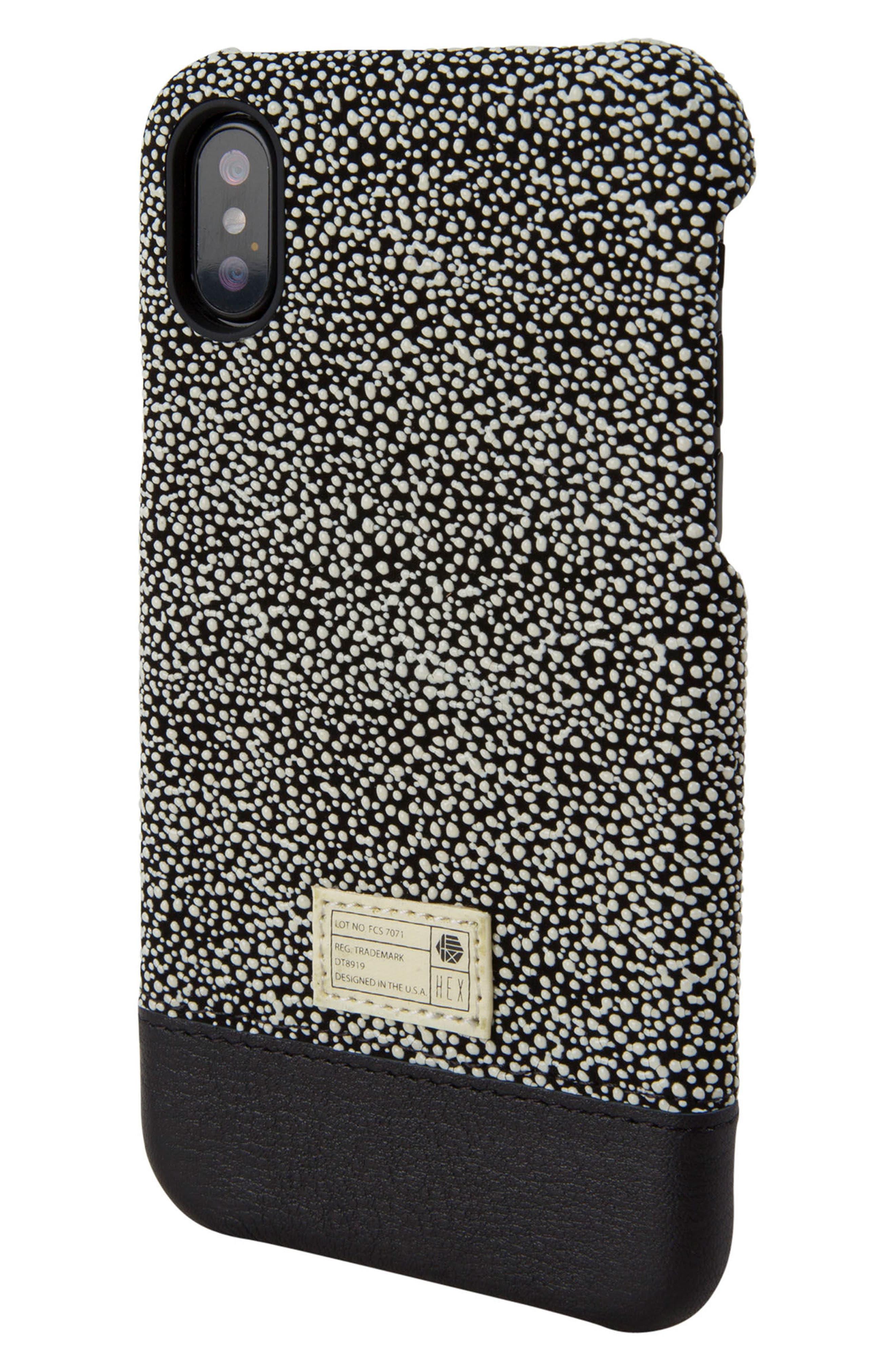Focus Leather iPhone X Case,                         Main,                         color, Black/ White Stingray