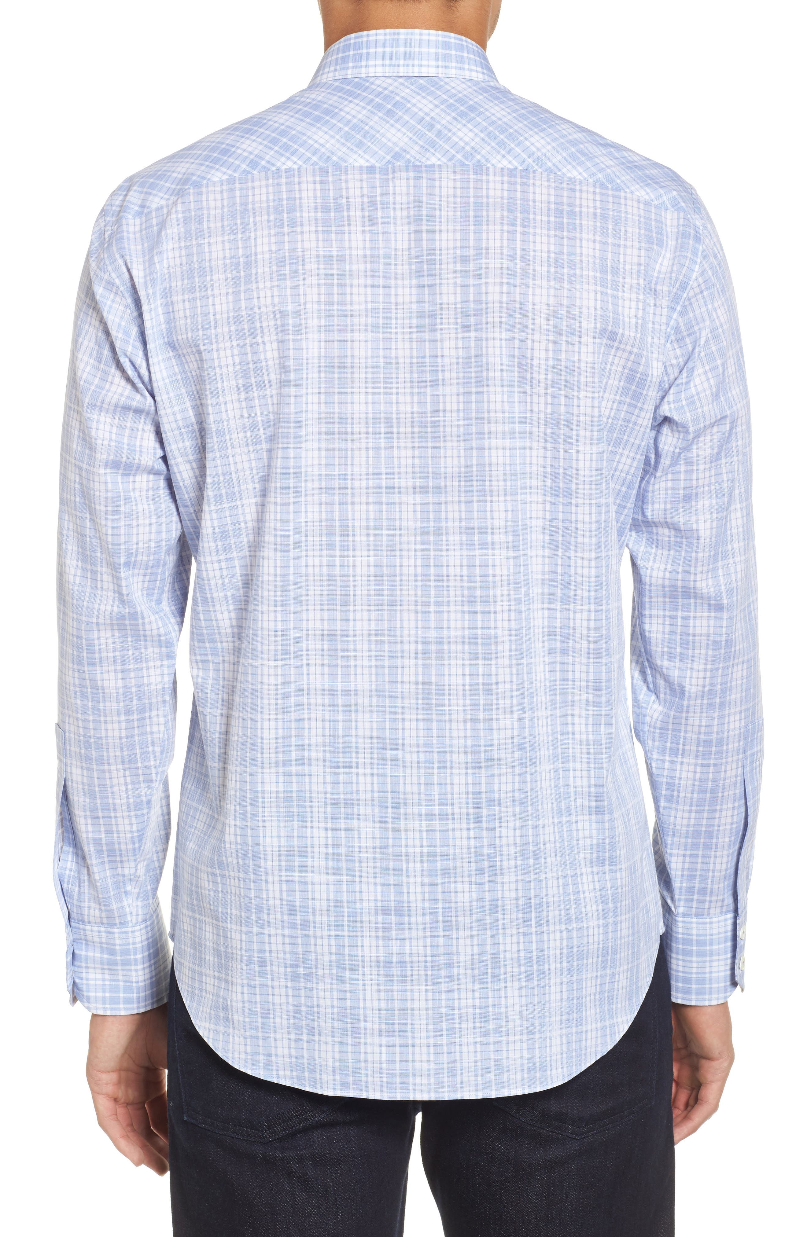 Cochran Slim Fit Plaid Sport Shirt,                             Alternate thumbnail 2, color,                             Blue