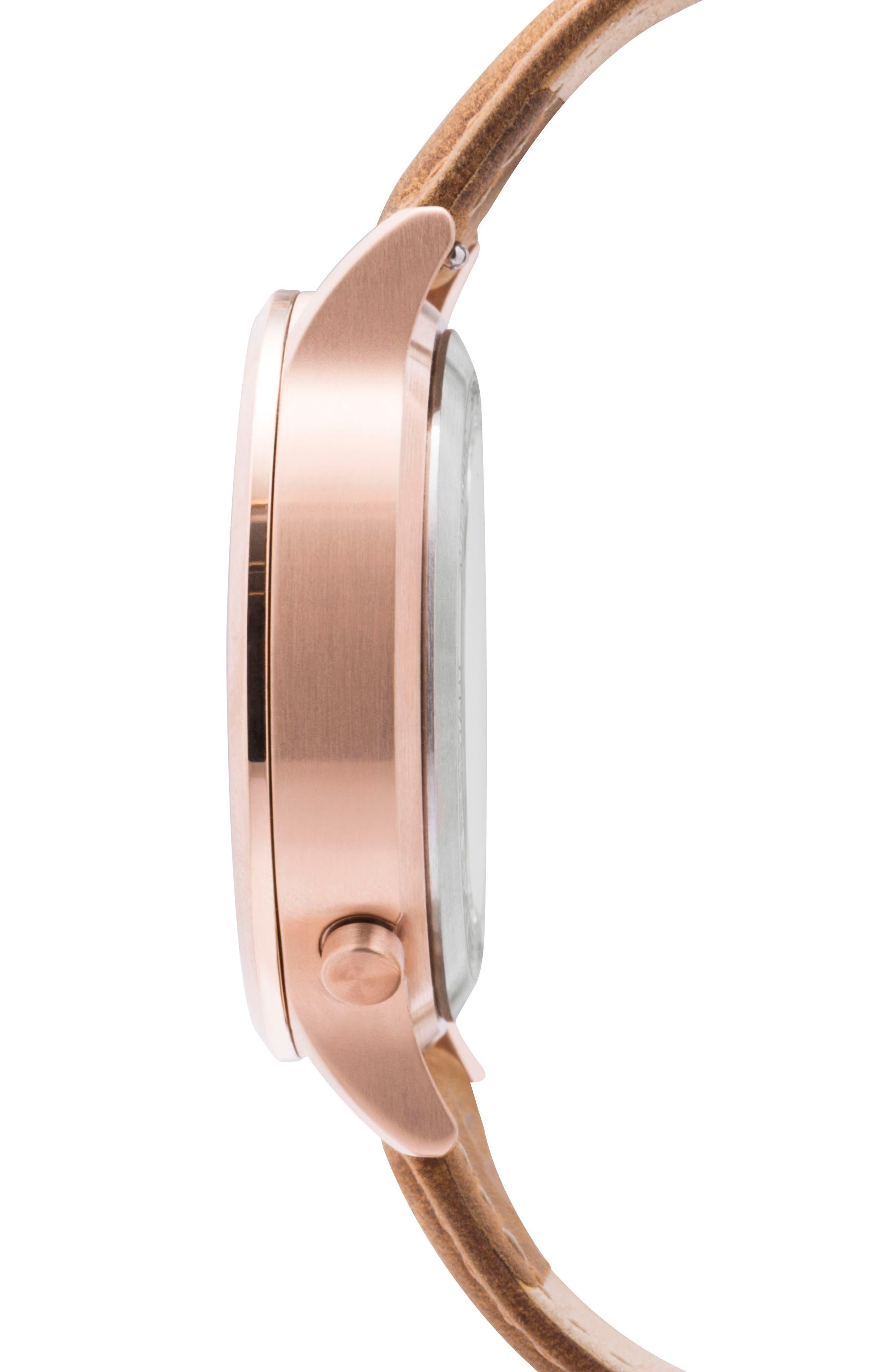 Leonard & Church Sullivan Automatic Suede Strap Watch, 39mm,                             Alternate thumbnail 6, color,                             Tan/ Rose Gold