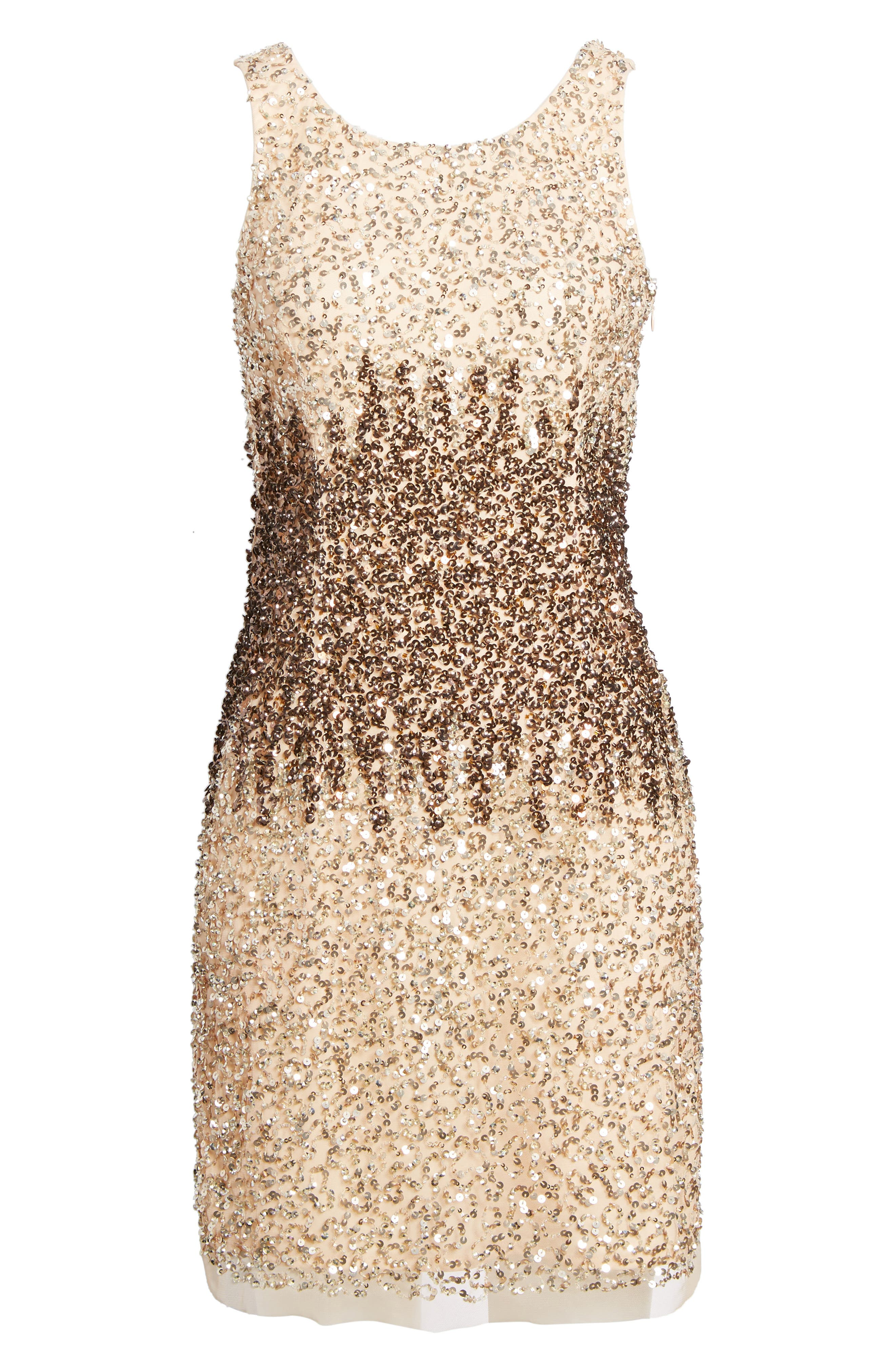 Sequins and Champagne Dress,                             Alternate thumbnail 6, color,                             Beige