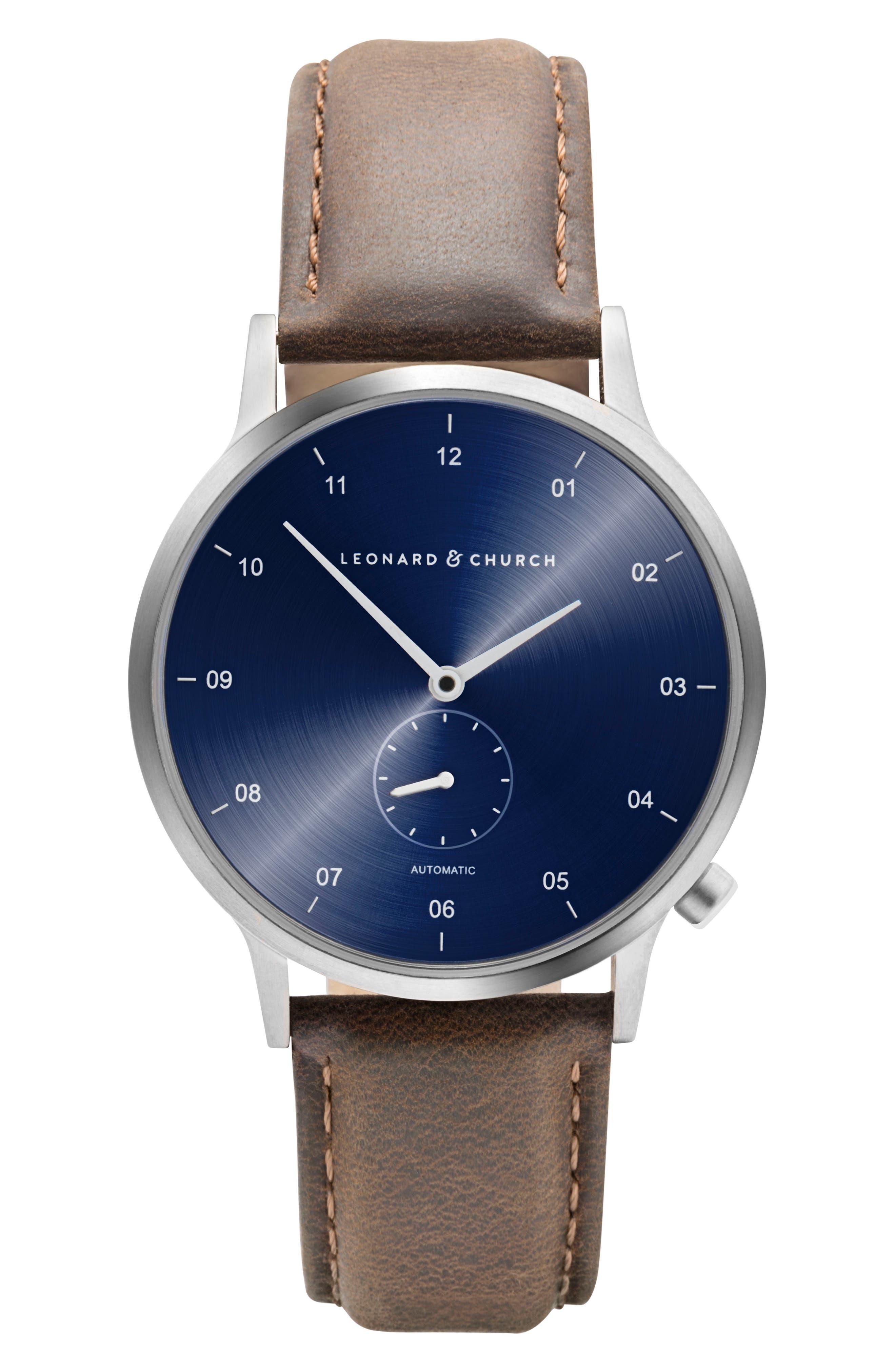 Leonard & Church Sullivan Automatic Suede Strap Watch, 39mm,                         Main,                         color, Dark Brown/ Blue/ Silver