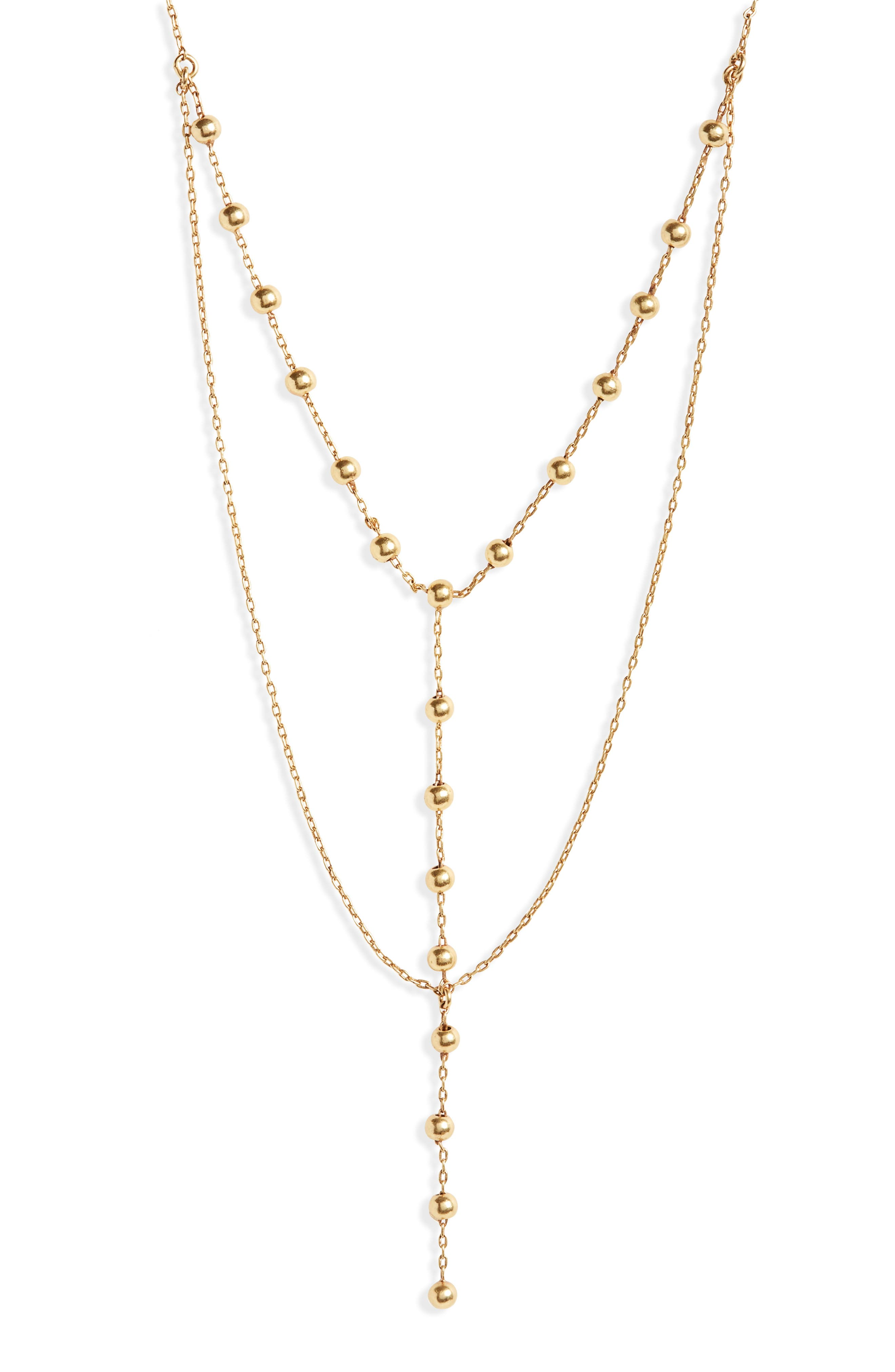 Sphere Layered Lariat Necklace,                         Main,                         color, Gold Ox
