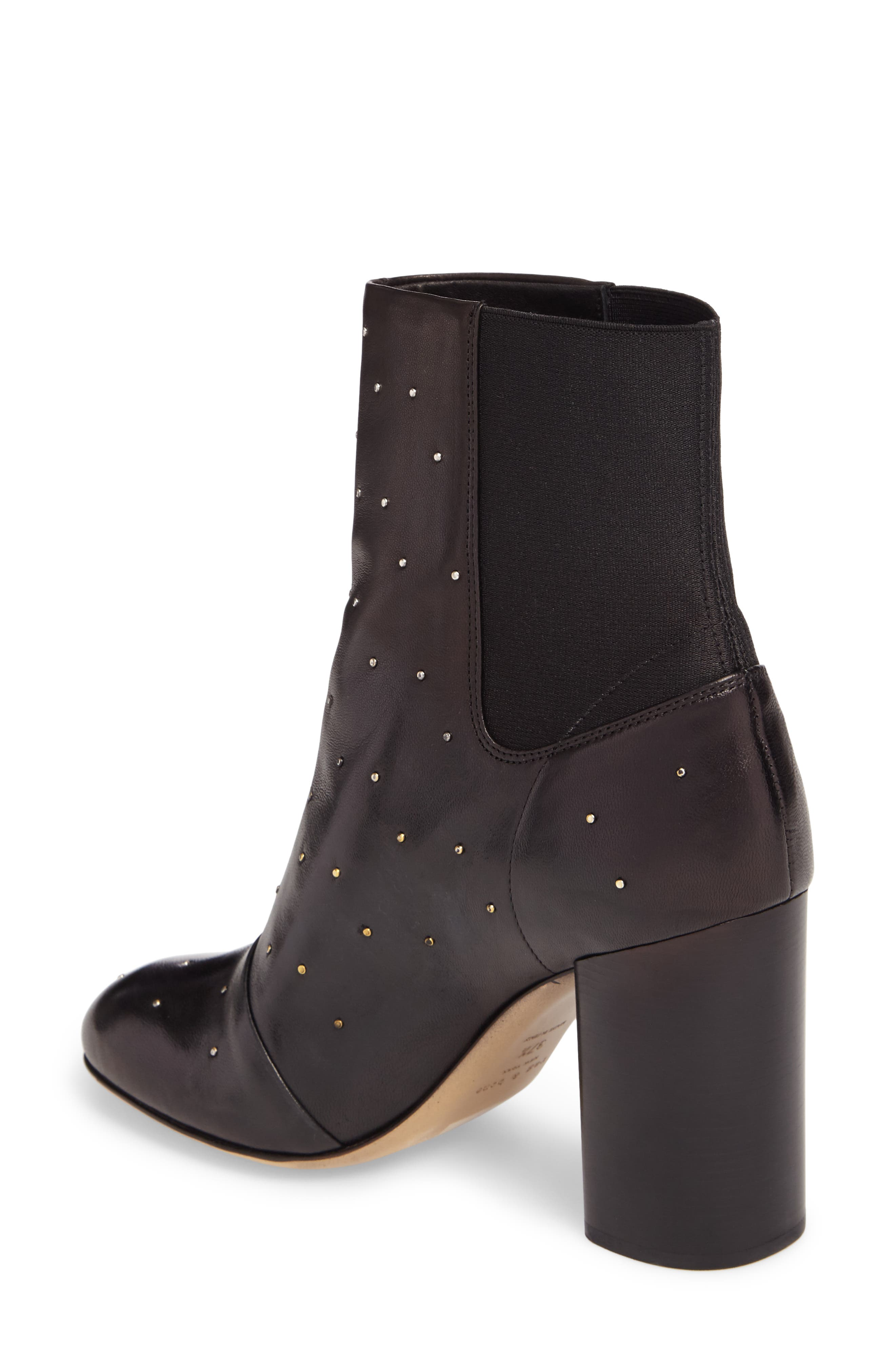 Agnes Bootie,                             Alternate thumbnail 2, color,                             Black Studded Leather