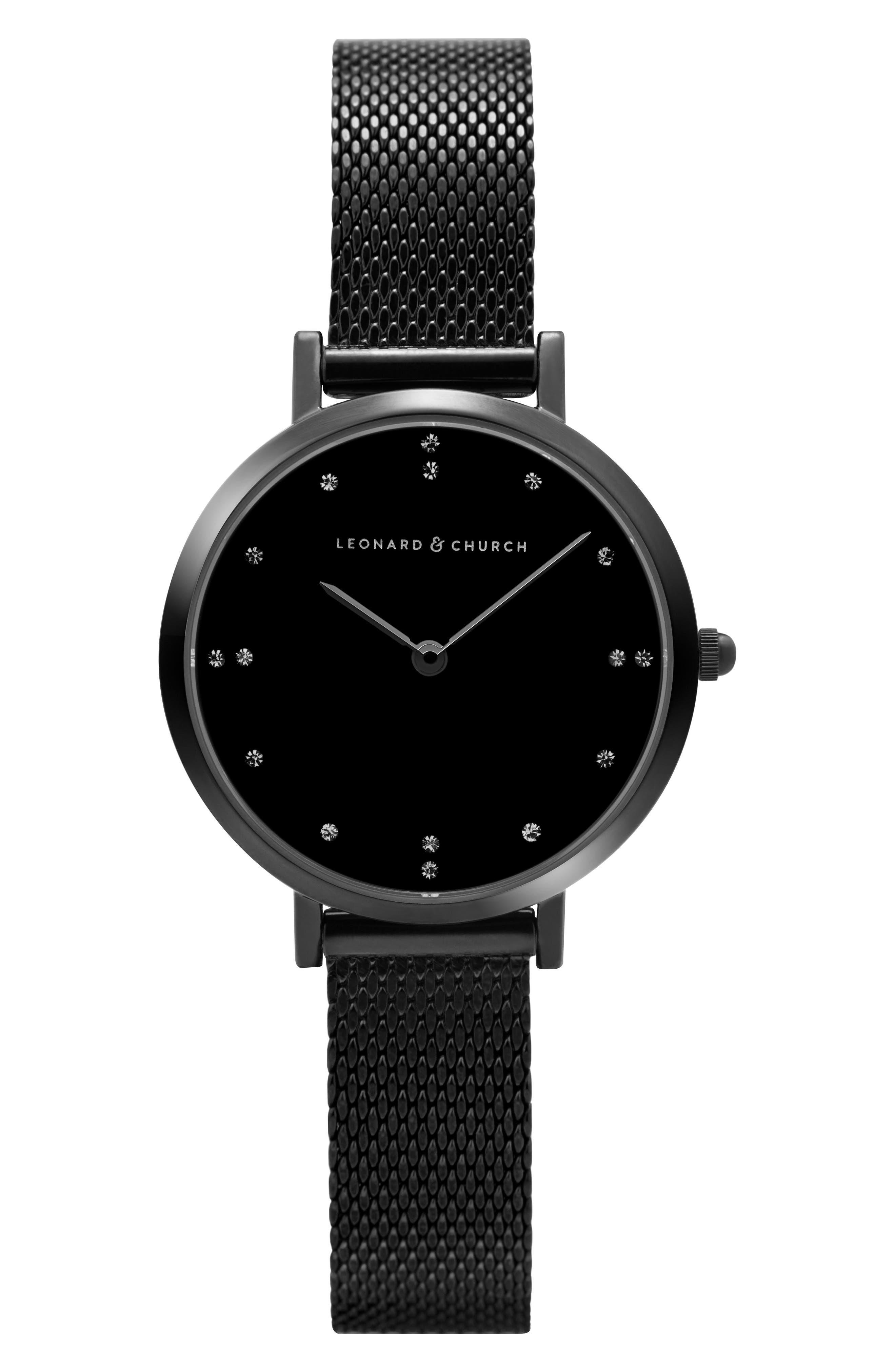 Leonard & Church Mercer Mesh Strap Watch, 30mm,                         Main,                         color, Black