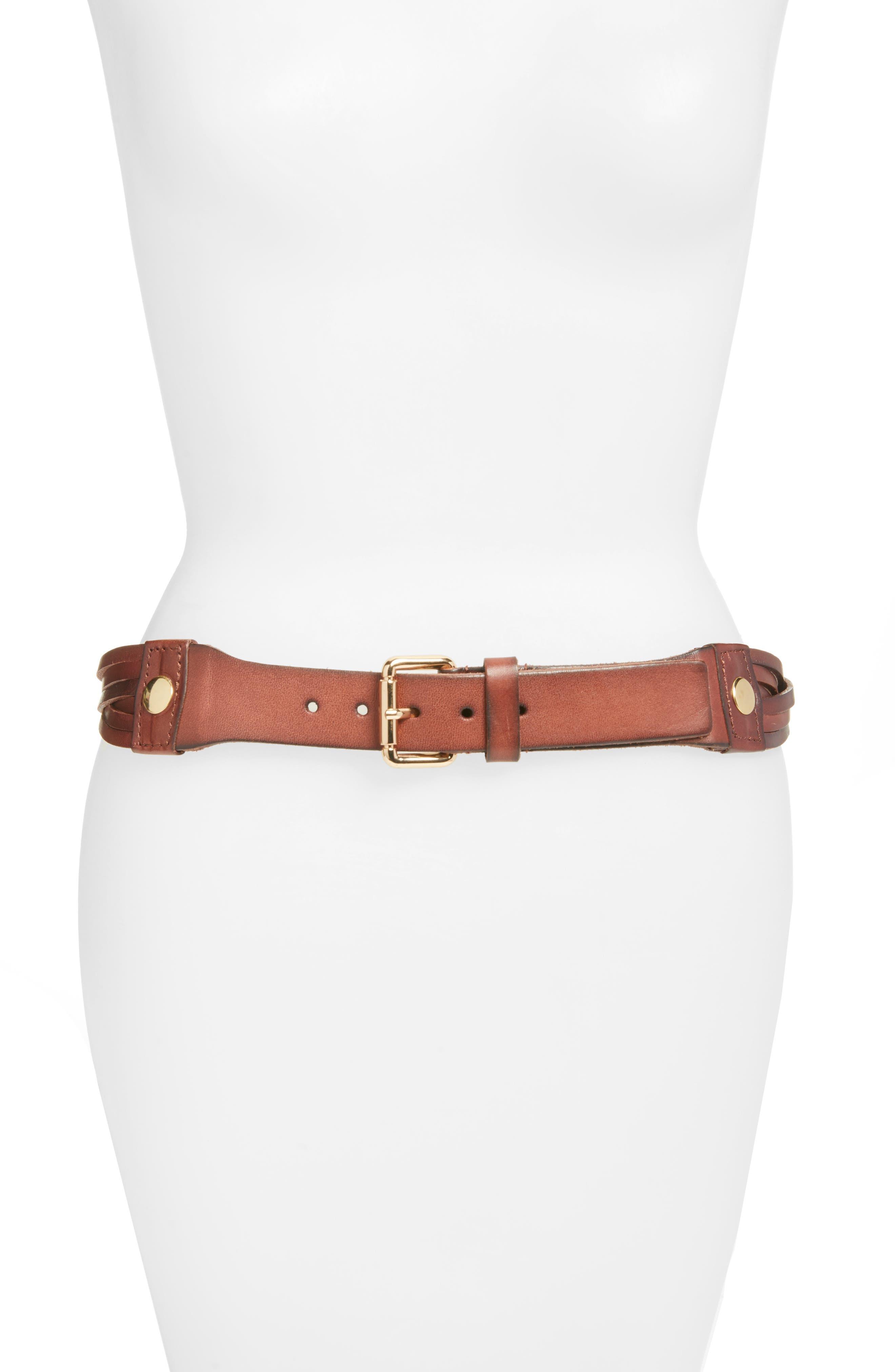 ELISE M. Hunter Twisted Leather Hip Belt in Capp