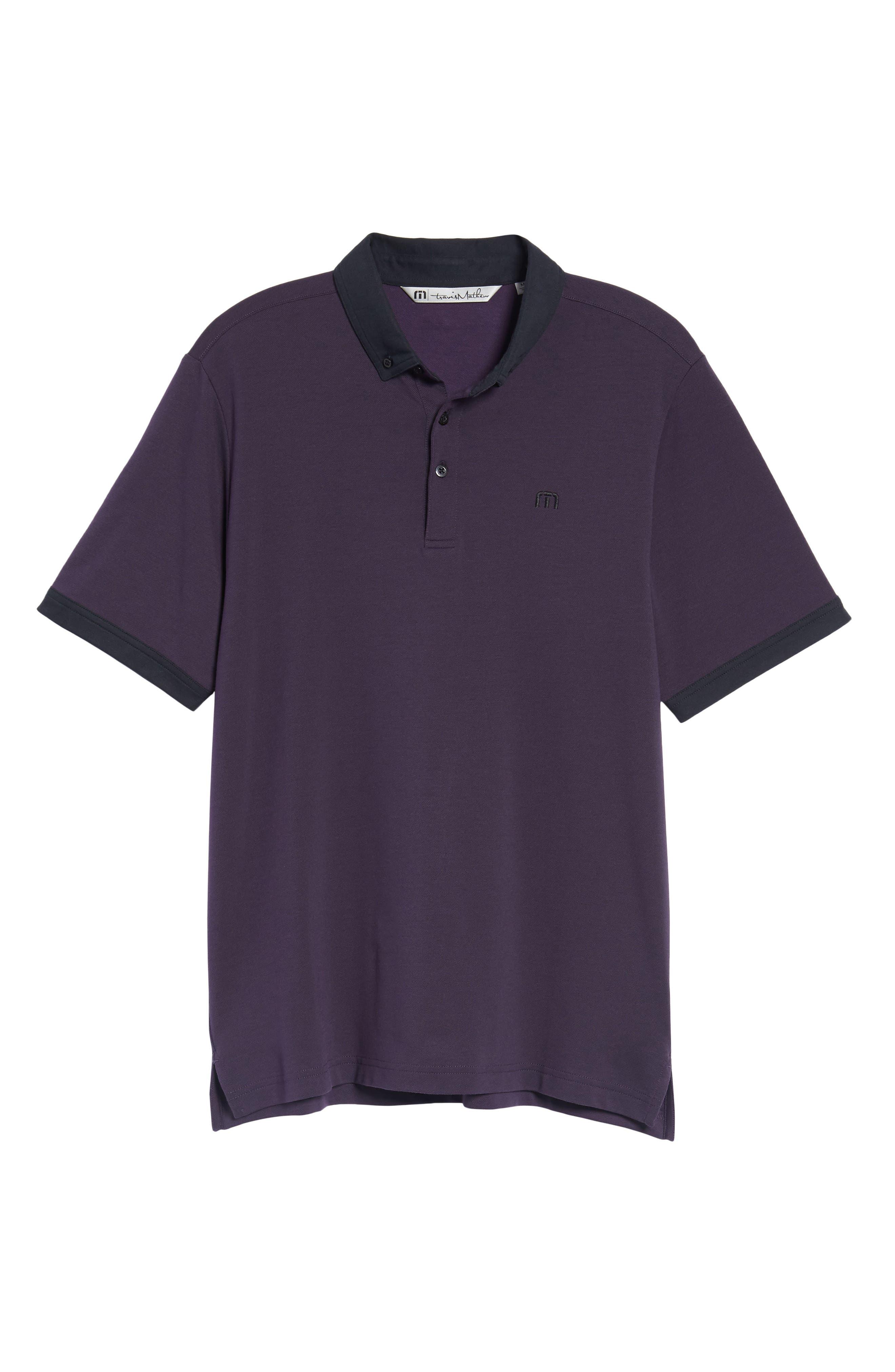 Irving Piqué Polo,                             Alternate thumbnail 6, color,                             Purple Plumeria/ Black