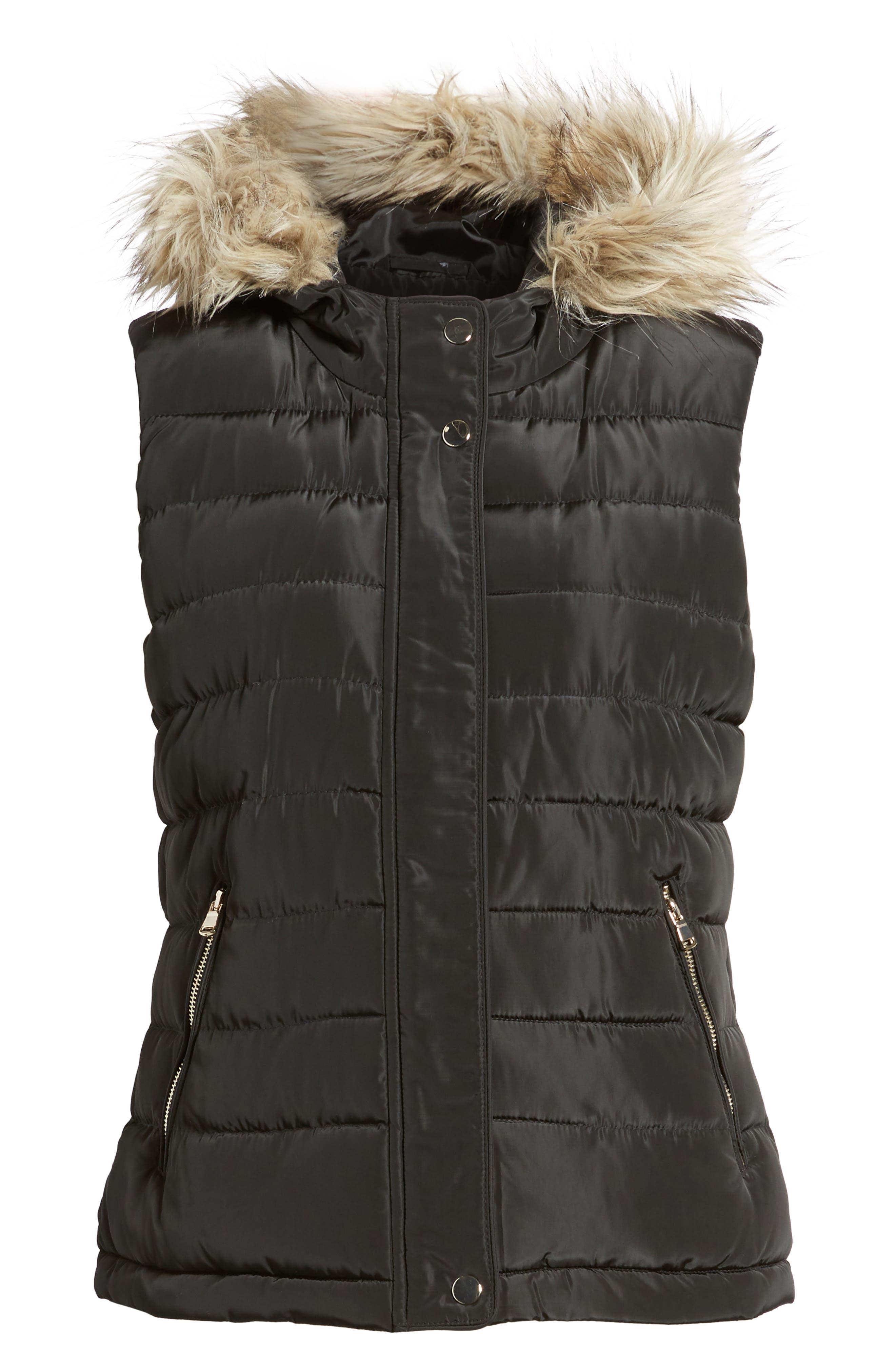 Faux Fur Trim Hooded Quilted Vest,                             Alternate thumbnail 6, color,                             Black