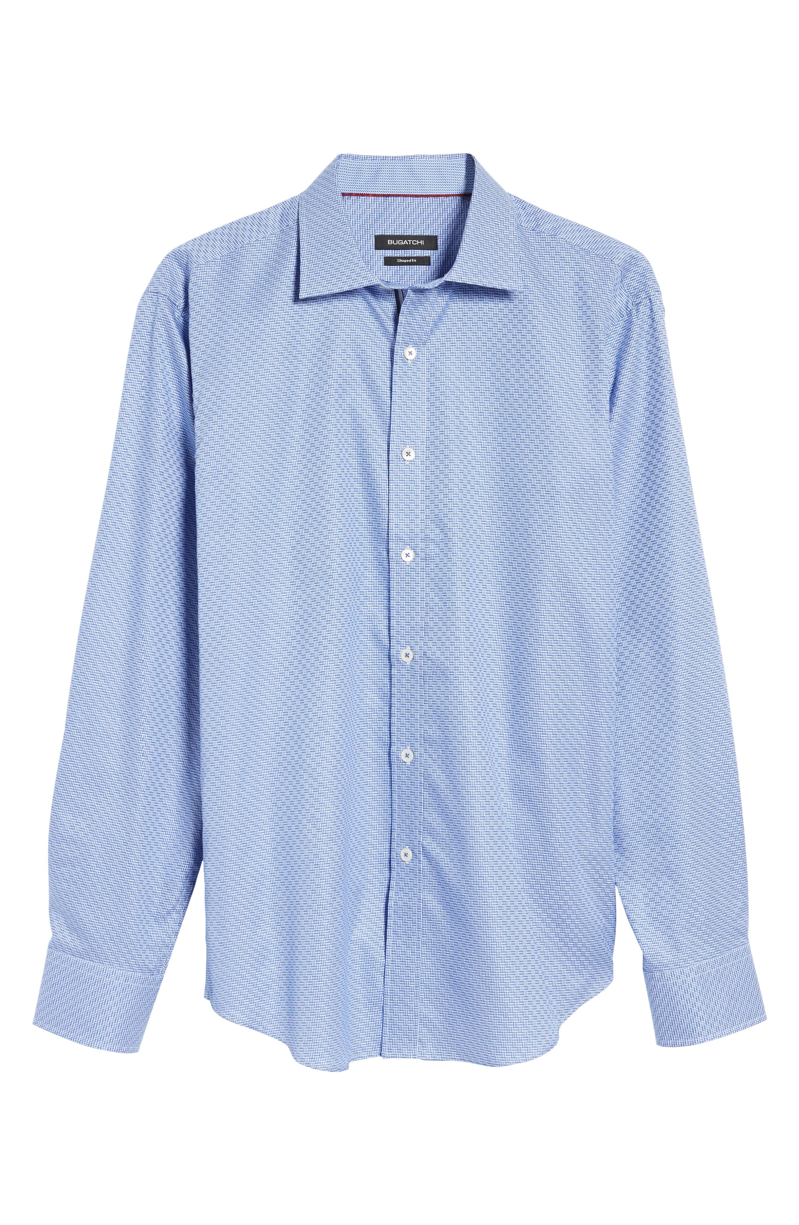 Shaped Fit Sport Shirt,                             Alternate thumbnail 6, color,                             Classic Blue