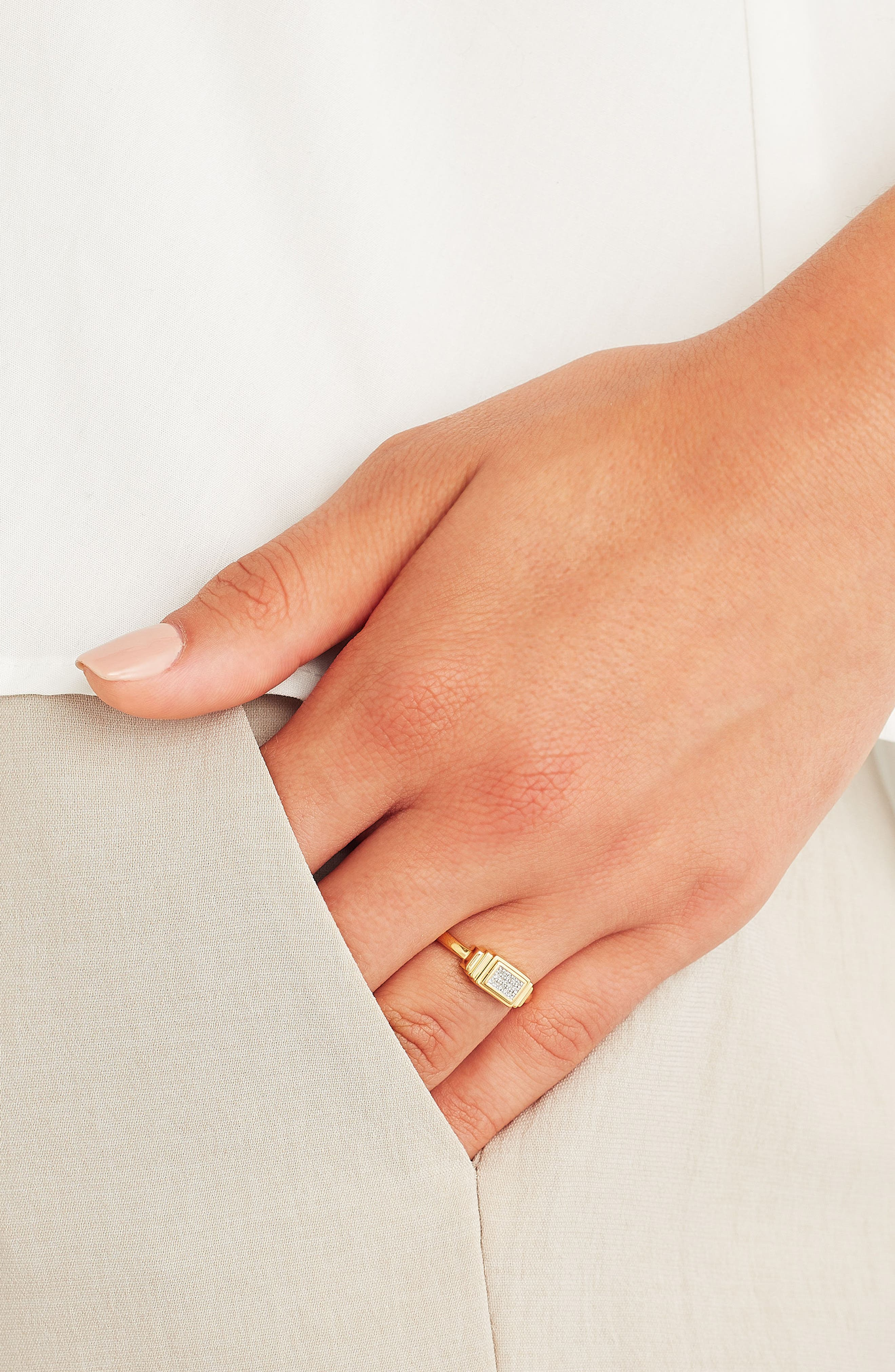 Baja Deco Diamond Ring,                             Alternate thumbnail 3, color,                             Yellow Gold