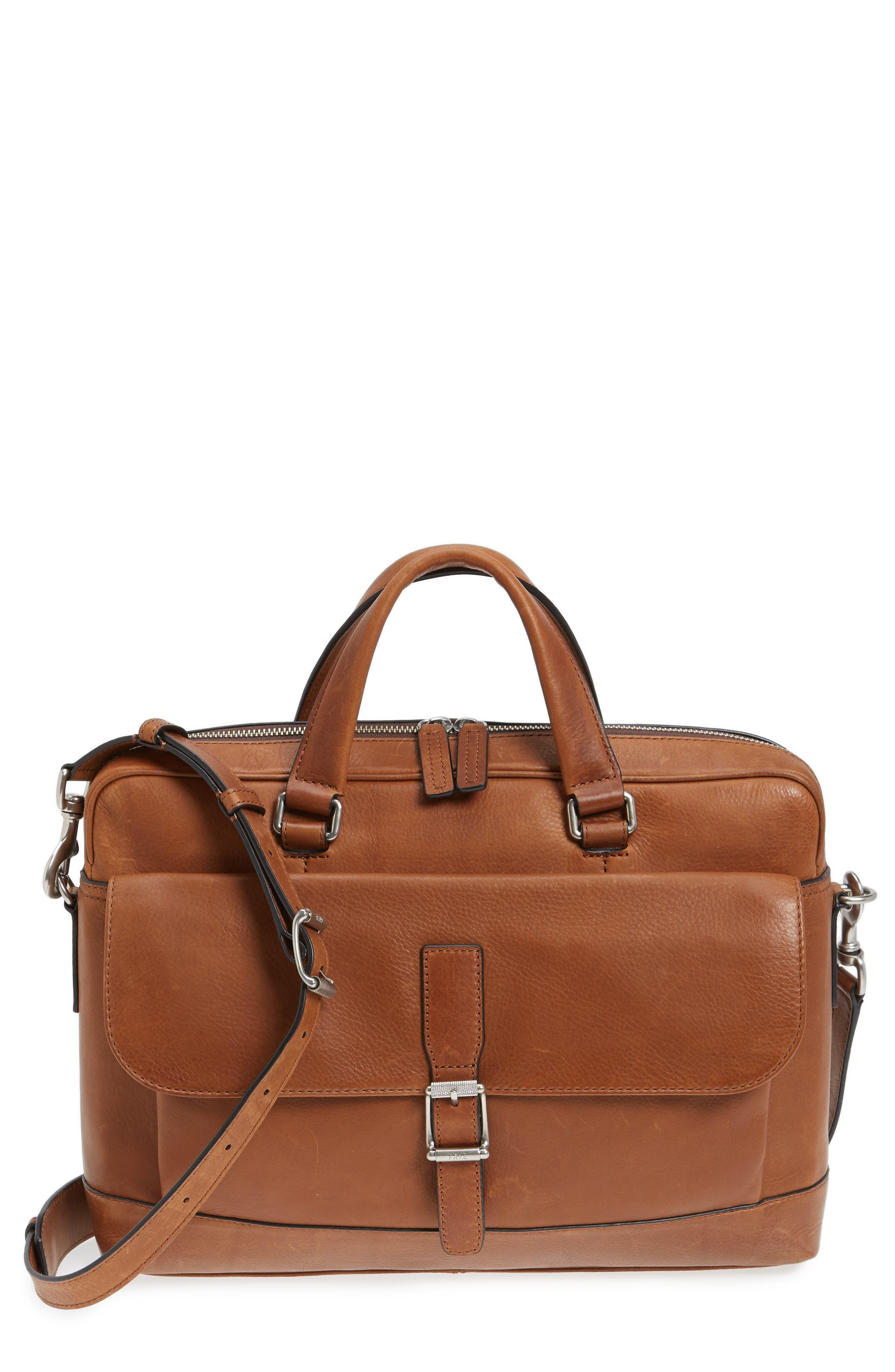 Oliver Leather Briefcase,                             Main thumbnail 1, color,                             Cognac