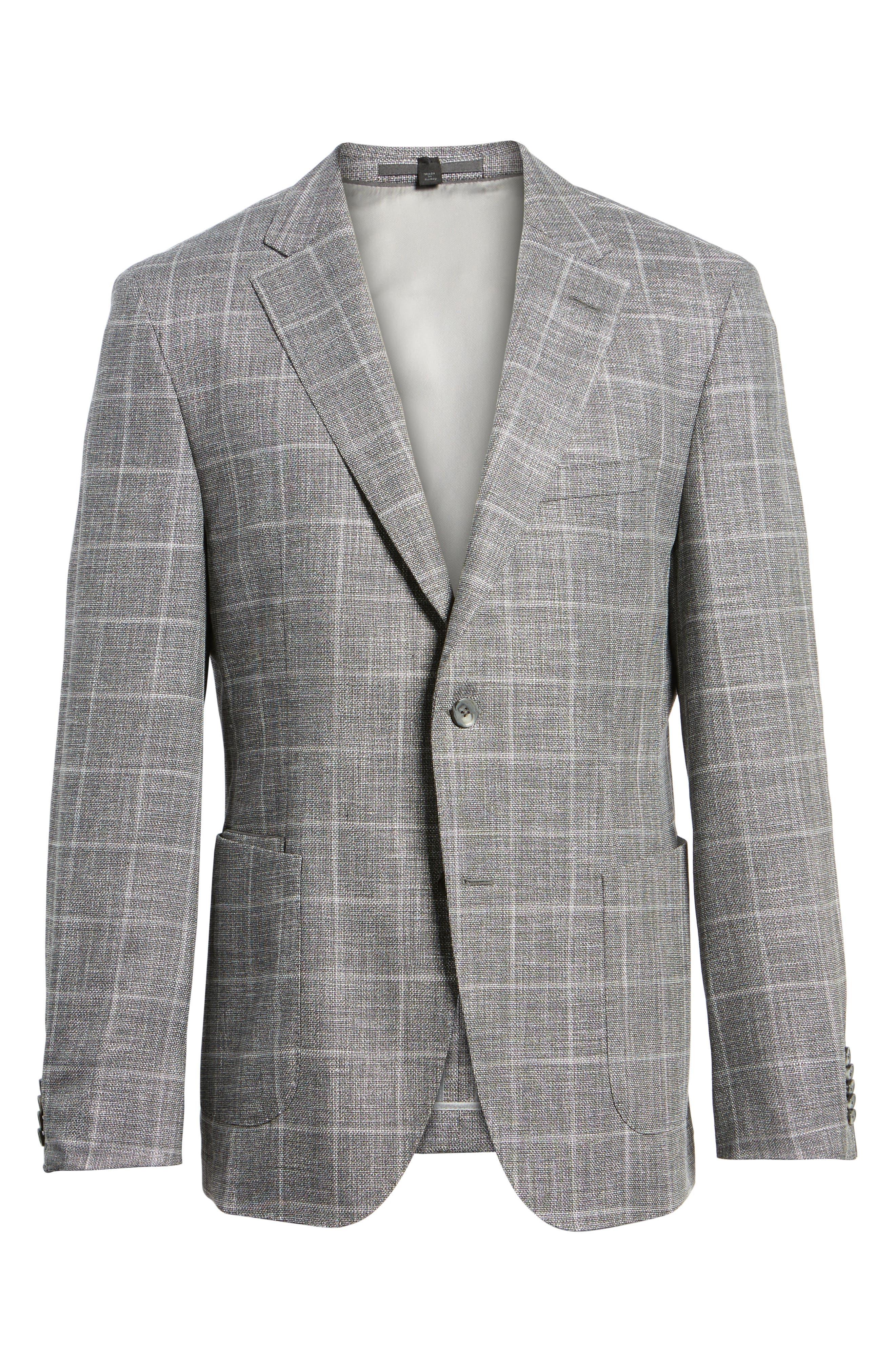 T-Naiden Trim Fit Windowpane Sport Coat,                             Alternate thumbnail 6, color,                             Medium Grey