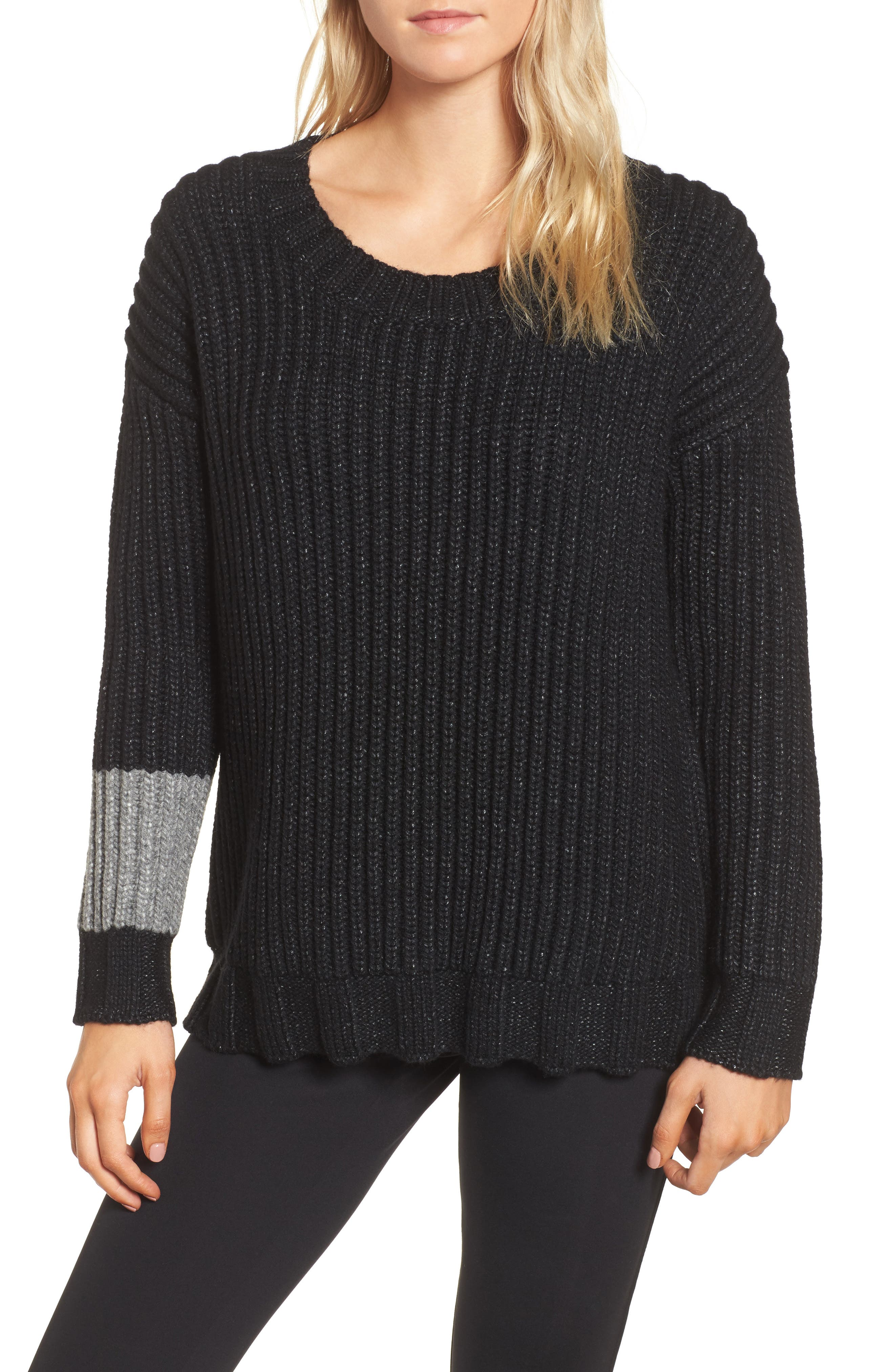 Chunky Armband Sweater,                         Main,                         color, Black/ Heather Grey
