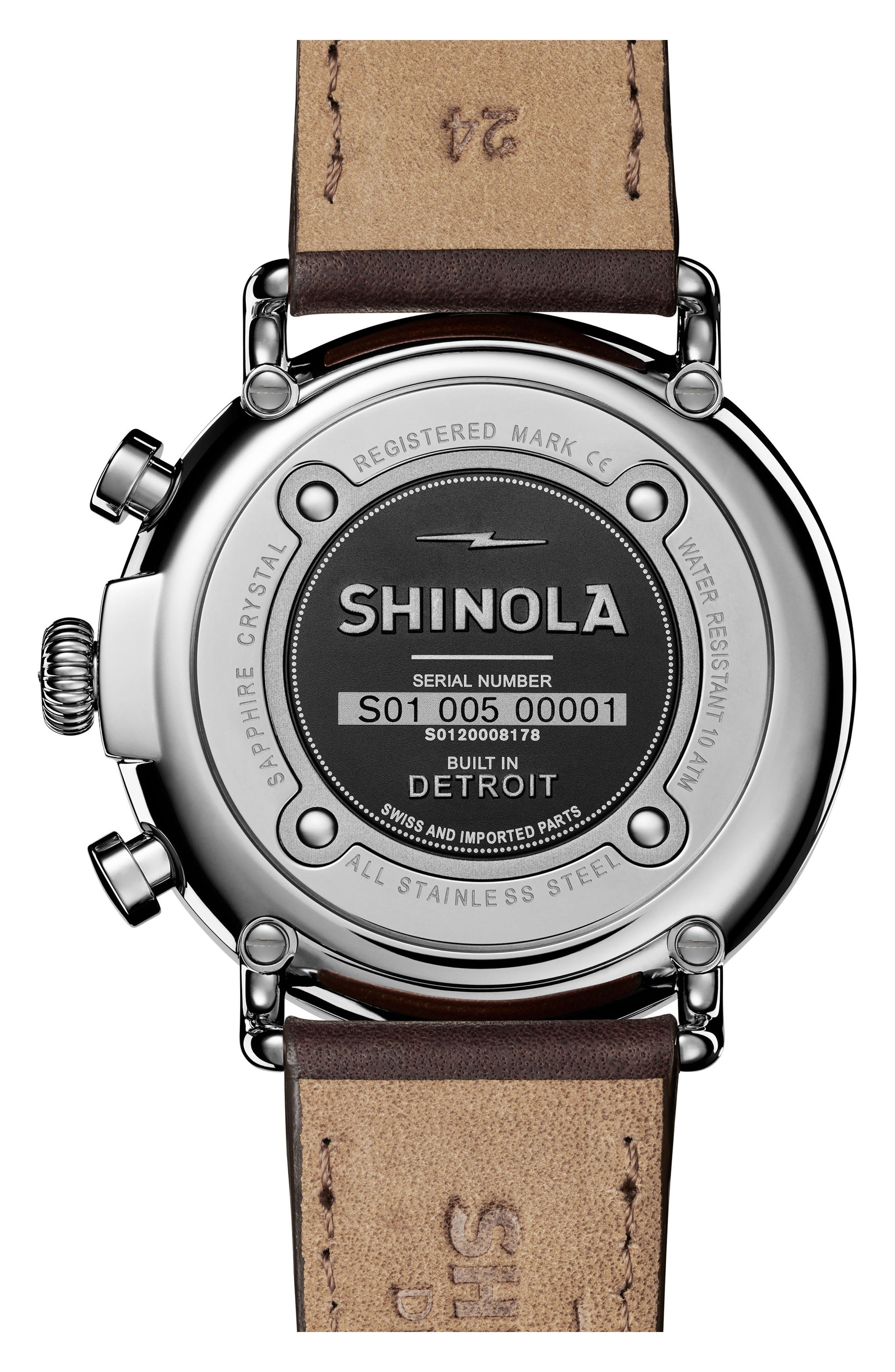 The Runwell Chrono Leather Strap Watch, 47mm,                             Alternate thumbnail 2, color,                             Brown/ Silver