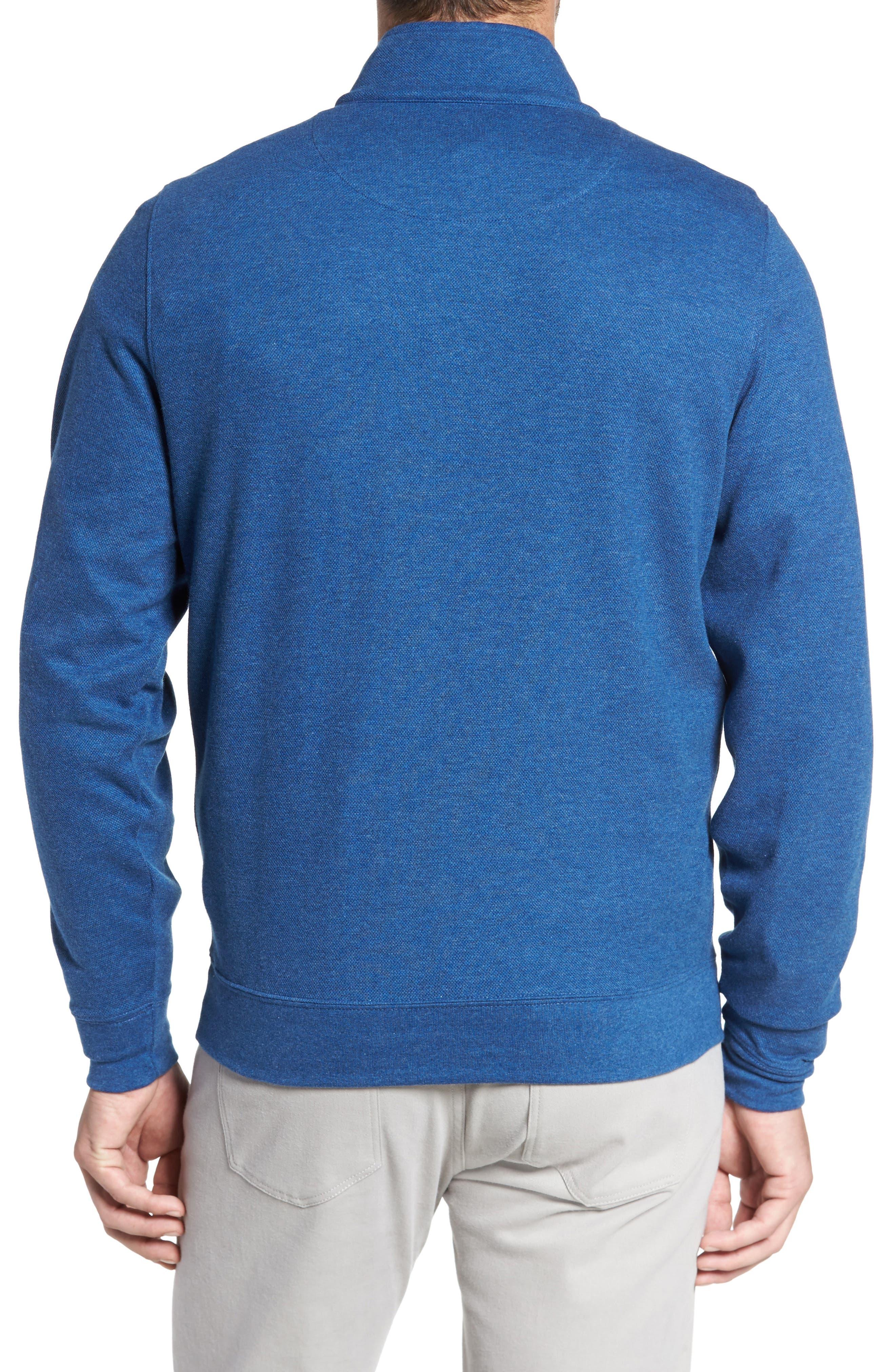 Mélange Quarter Zip Pullover,                             Alternate thumbnail 2, color,                             Blue