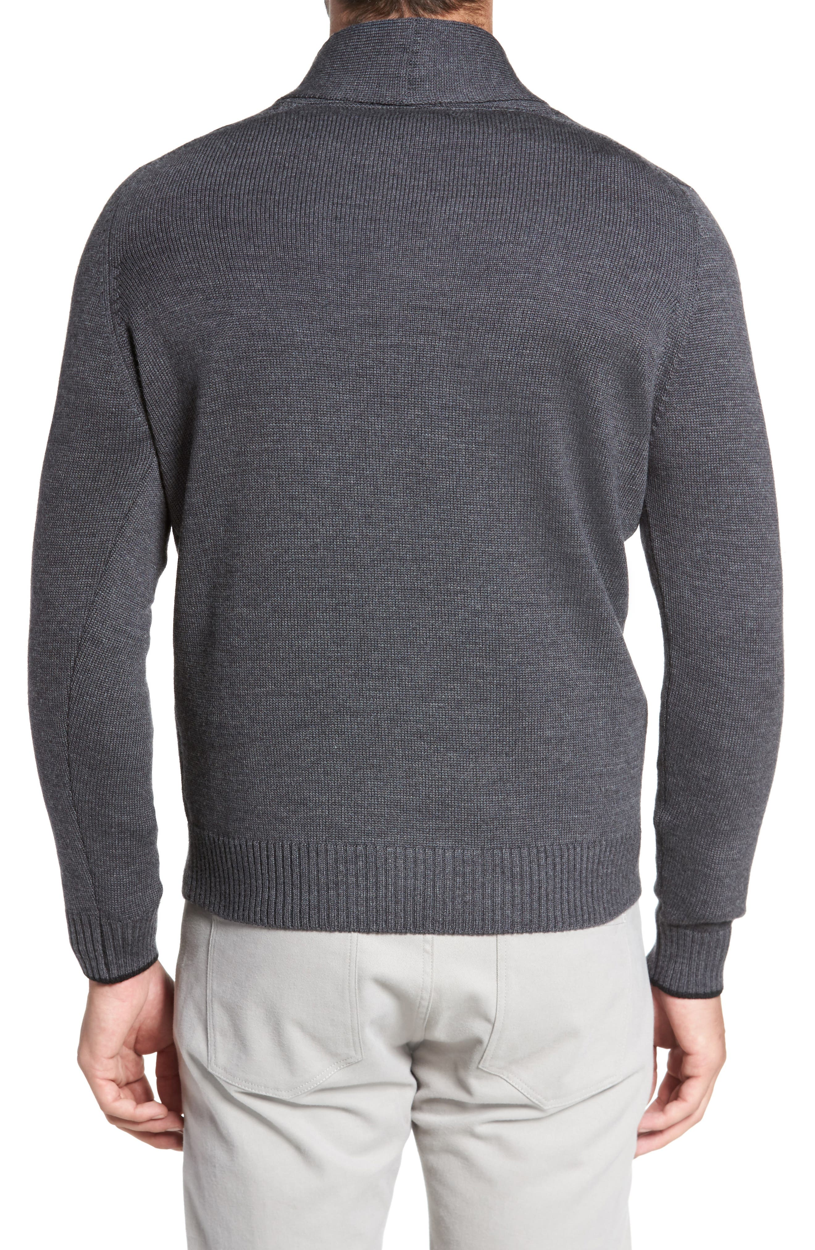Alternate Image 2  - David Donahue Merino Wool Shawl Collar Pullover