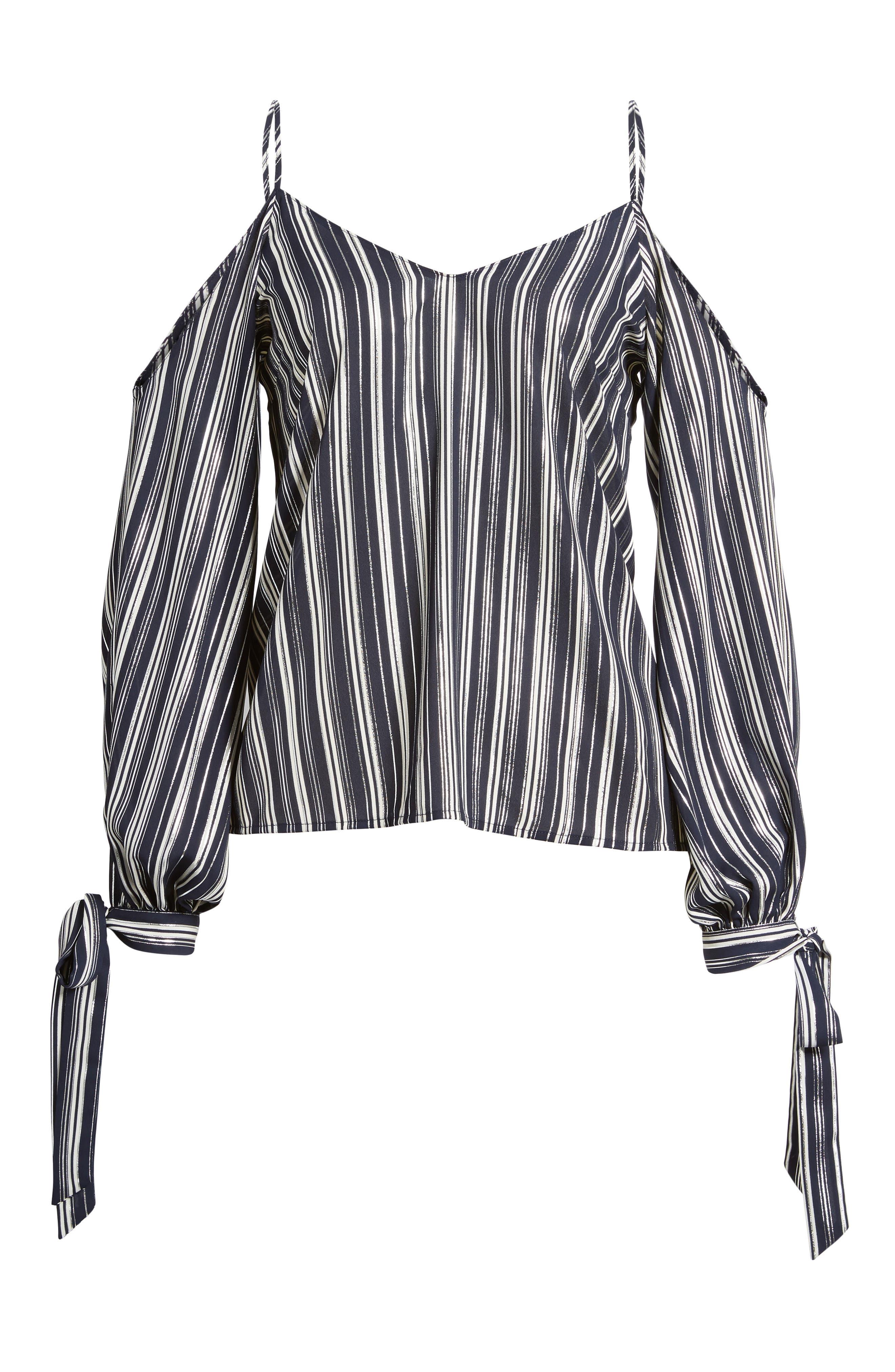 Metallic Stripe Cold Shoulder Top,                             Alternate thumbnail 6, color,                             Navy/ Silver Stripe