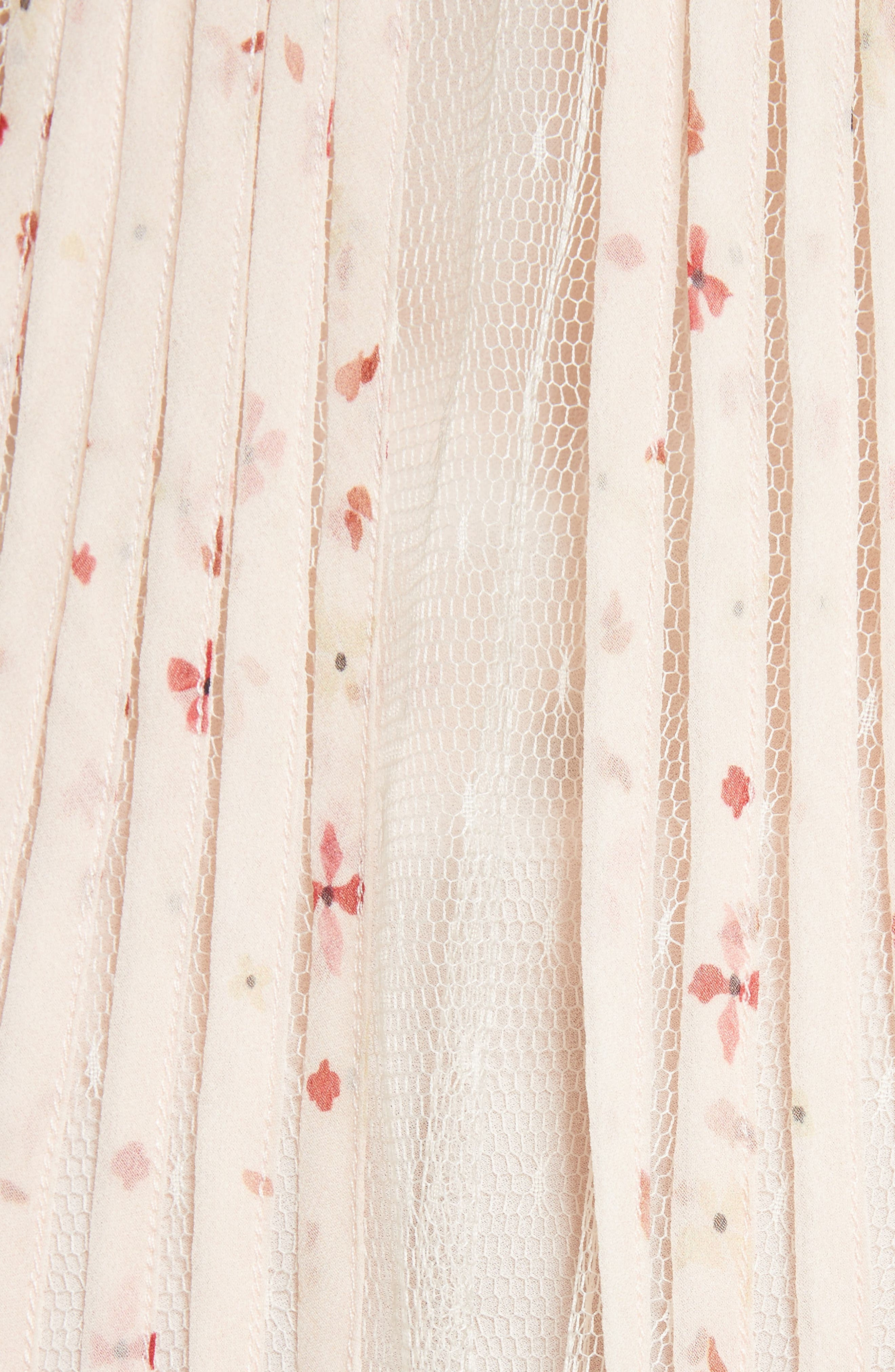 Point dEsprit Ruffle Trim Dress,                             Alternate thumbnail 5, color,                             Ivory