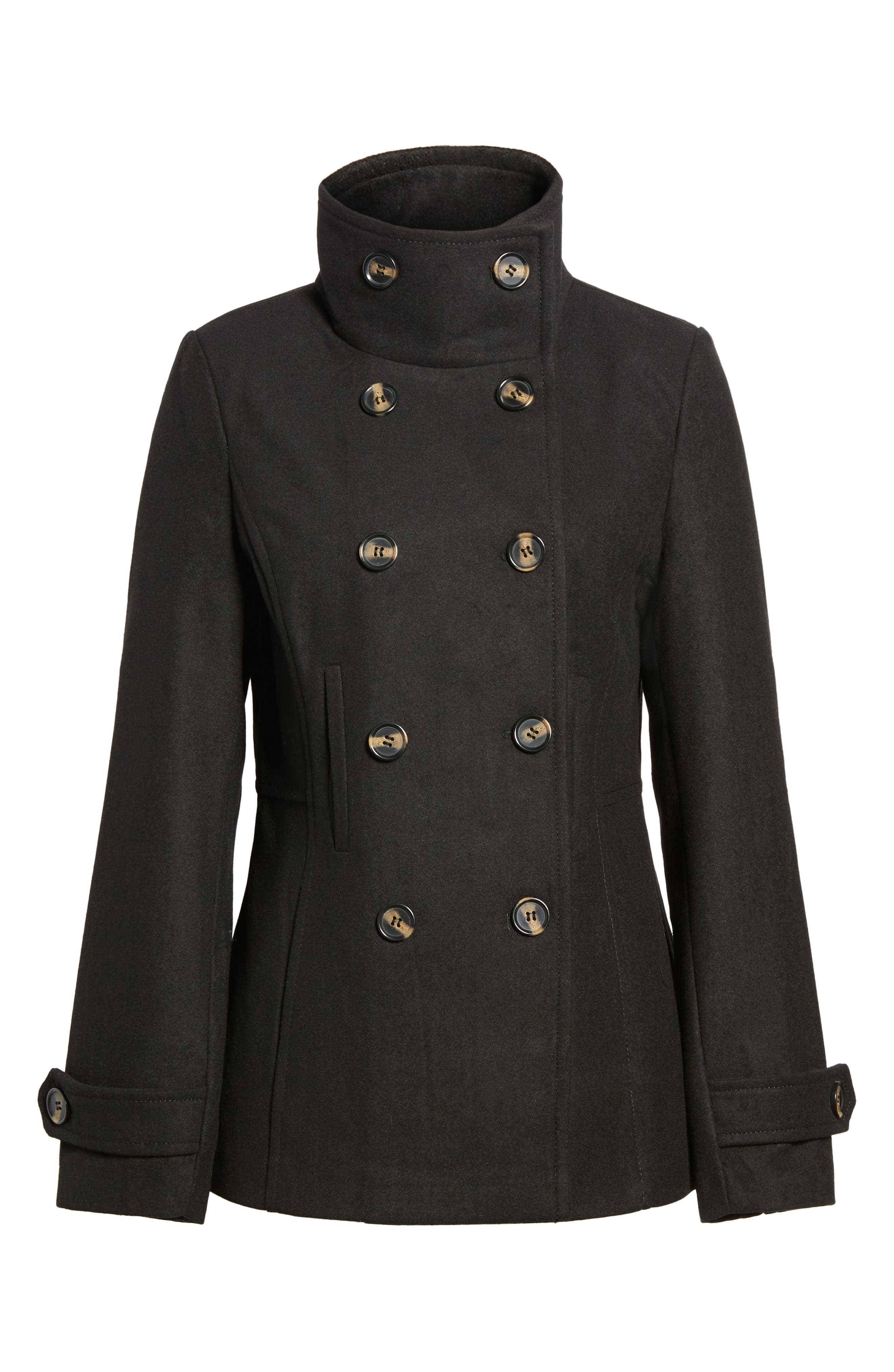 Double Breasted Peacoat,                         Main,                         color, Black