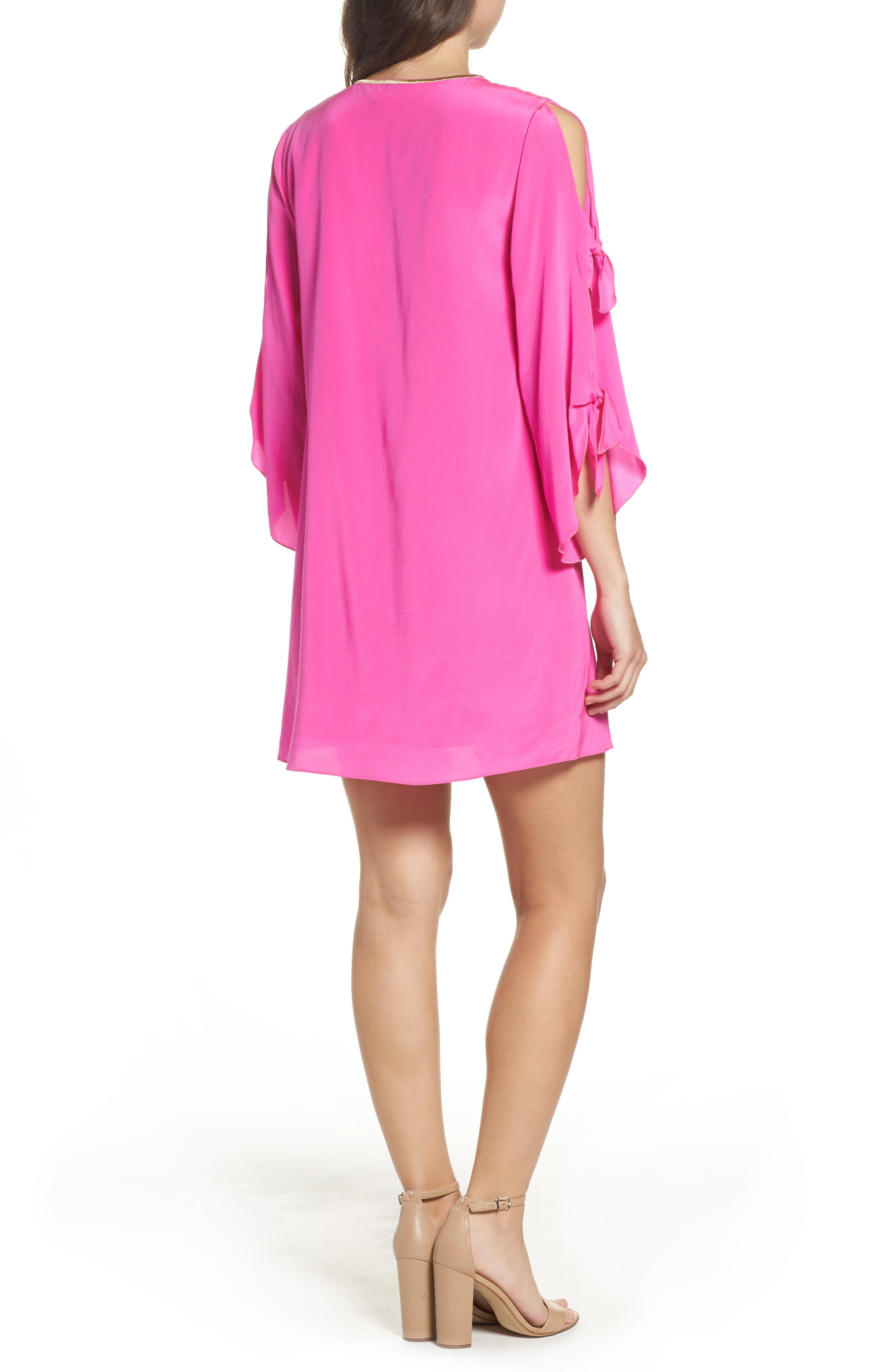 Stretch Silk Tunic Dress,                             Alternate thumbnail 2, color,                             Berry Fizz