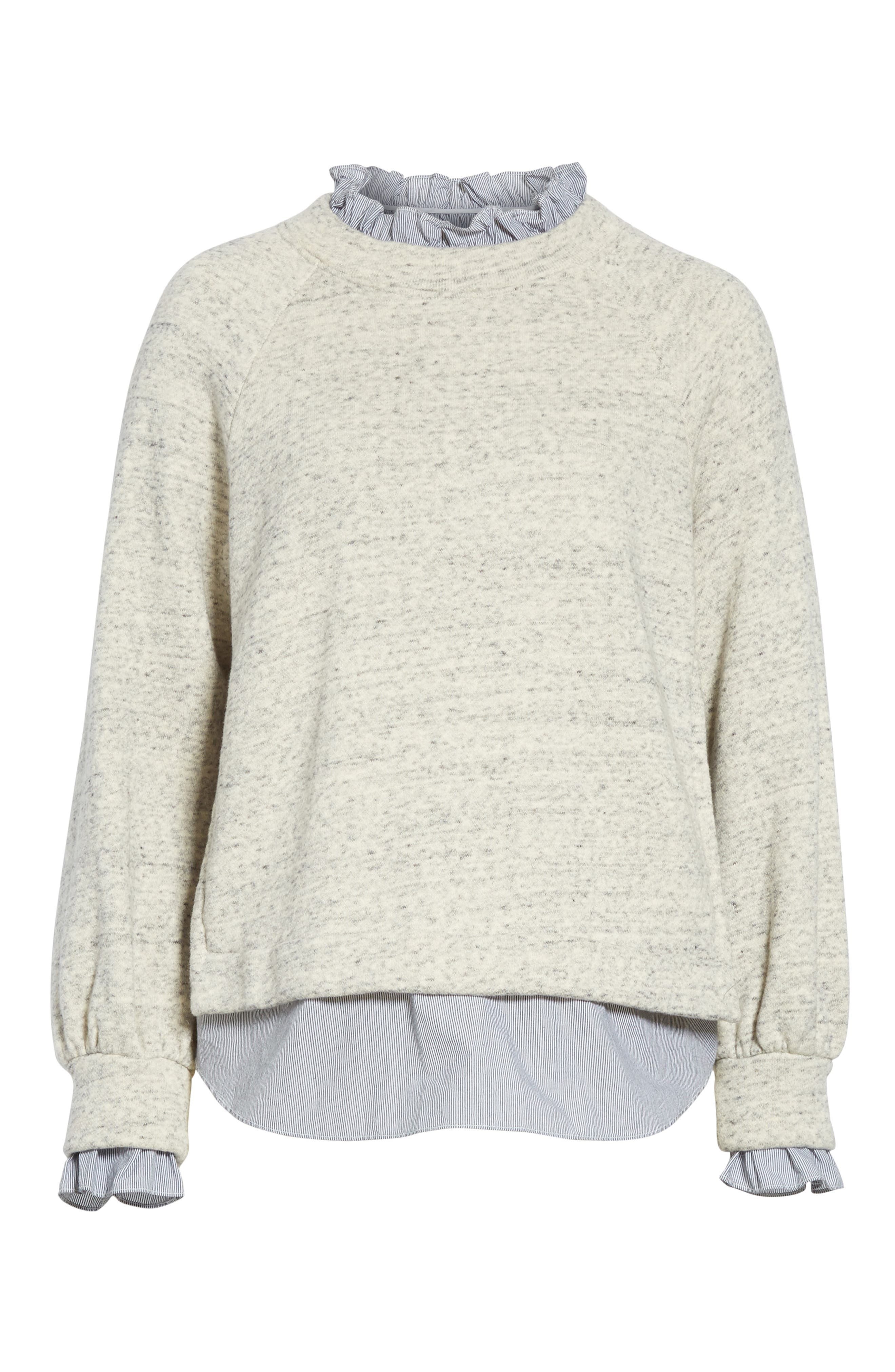 French Terry & Poplin Pullover,                             Alternate thumbnail 6, color,                             Grey Speckle