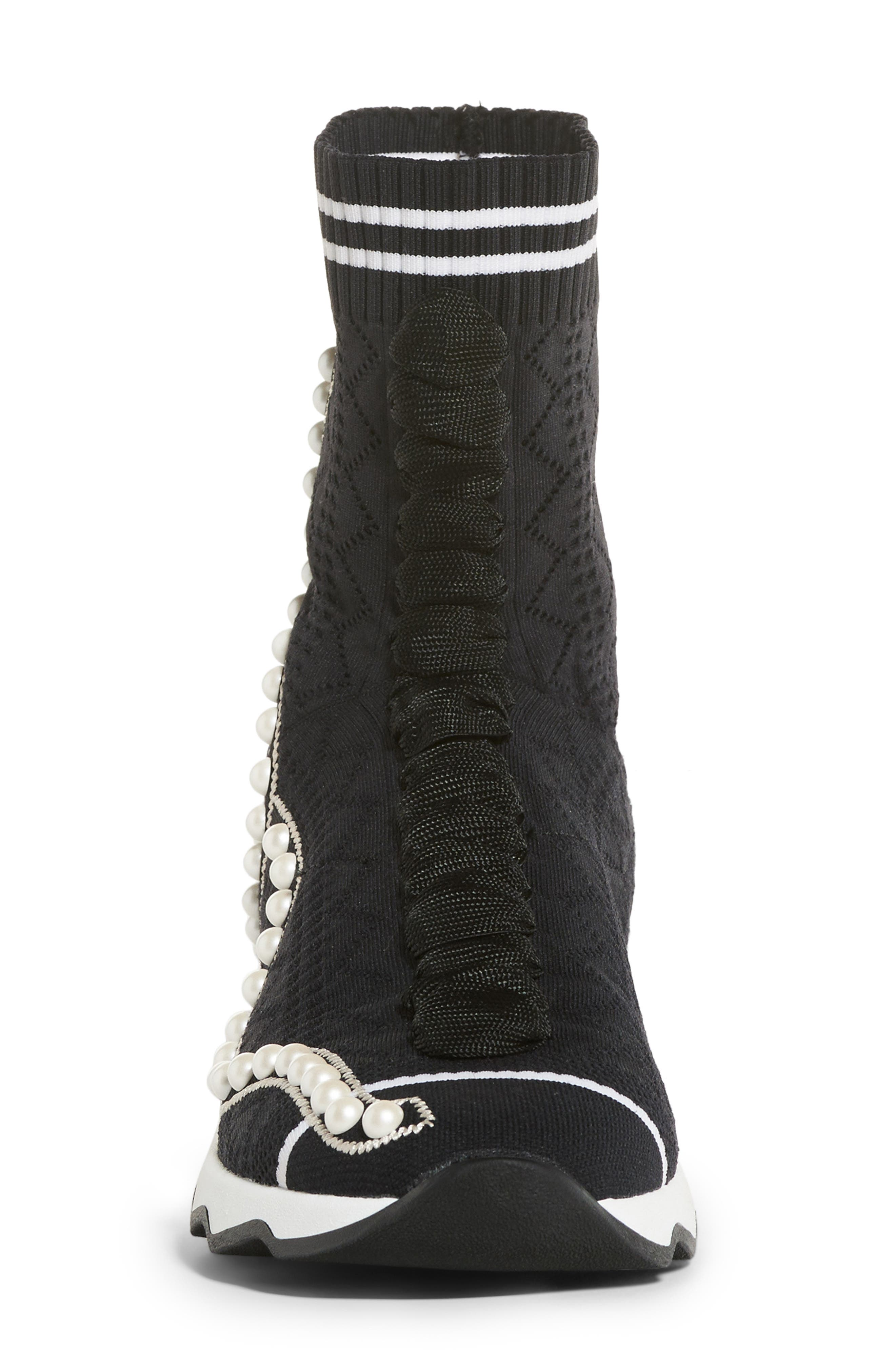 Rockoko Pearland Embellished Sock Sneaker,                             Alternate thumbnail 4, color,                             Black