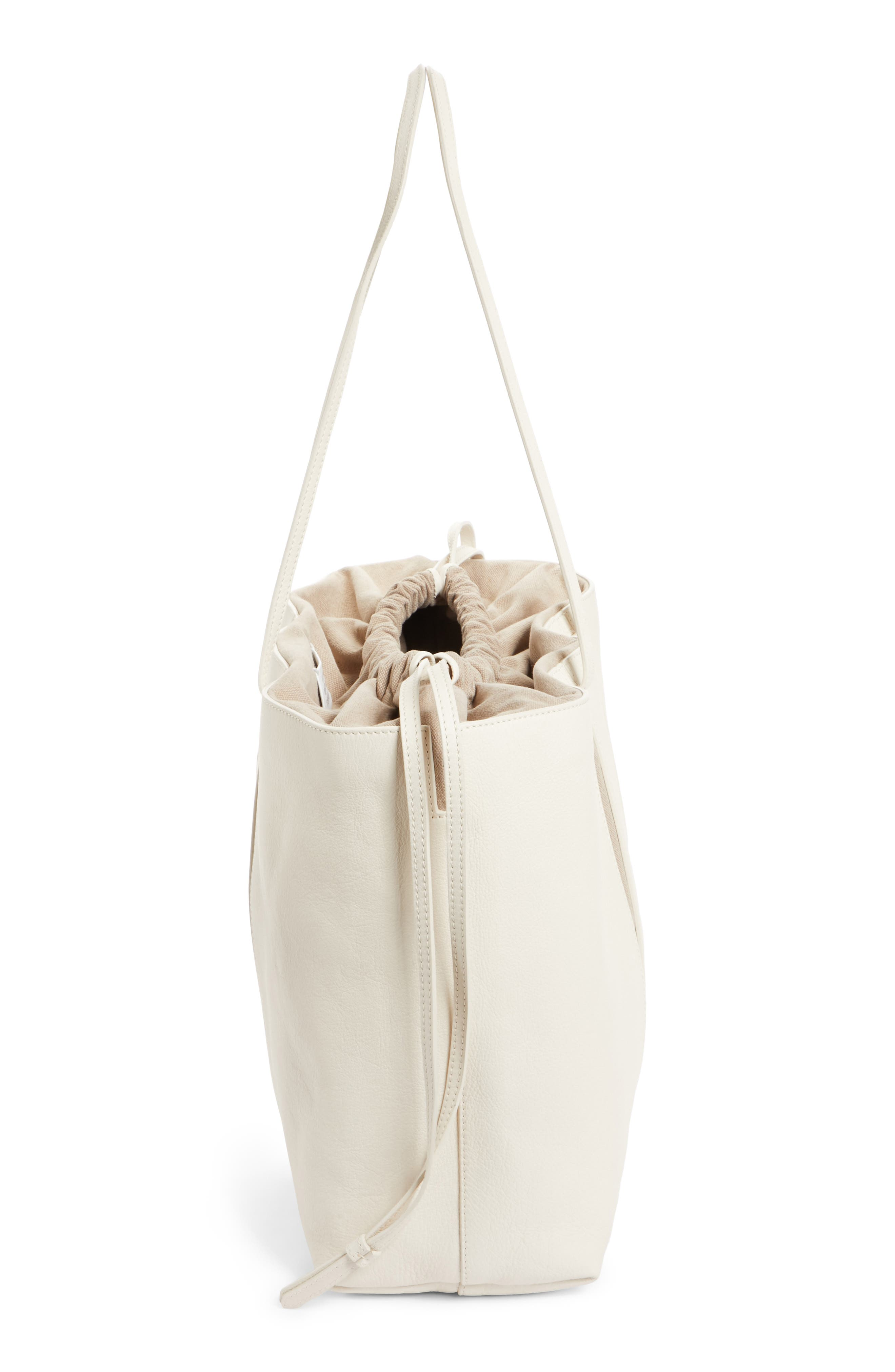 Calfskin Leather Tote,                             Alternate thumbnail 5, color,                             Cream