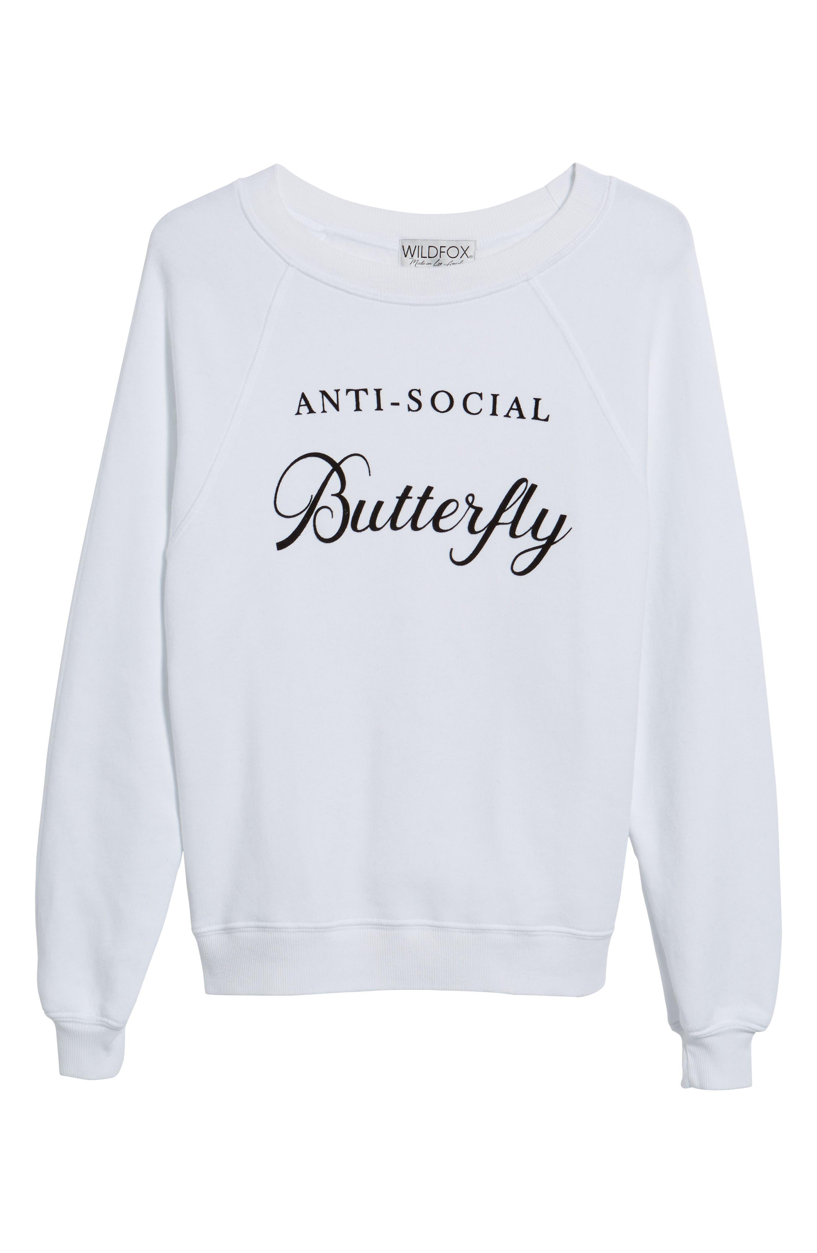 Alternate Image 6  - Wildfox Anti-Social Butterfly Sweatshirt