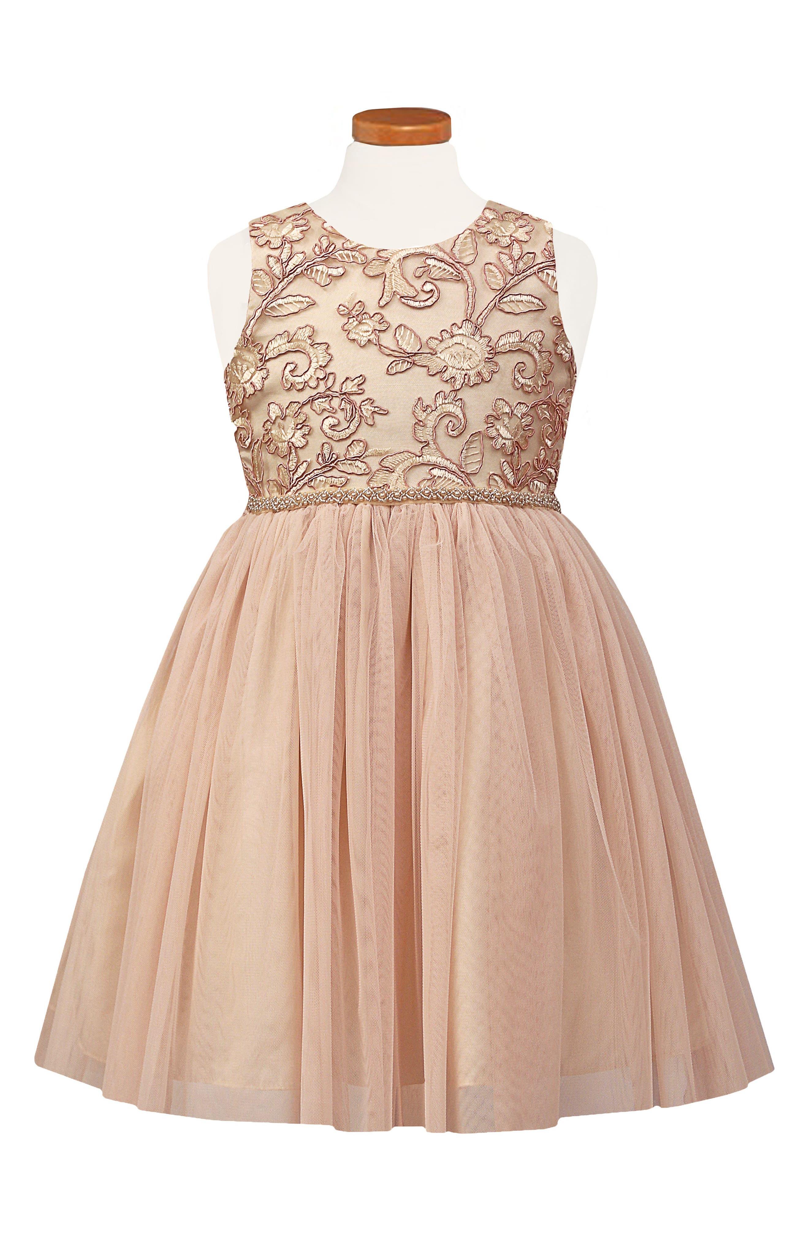 Main Image - Sorbet Embroidered Tulle Dress (Toddler Girls & Little Girls)