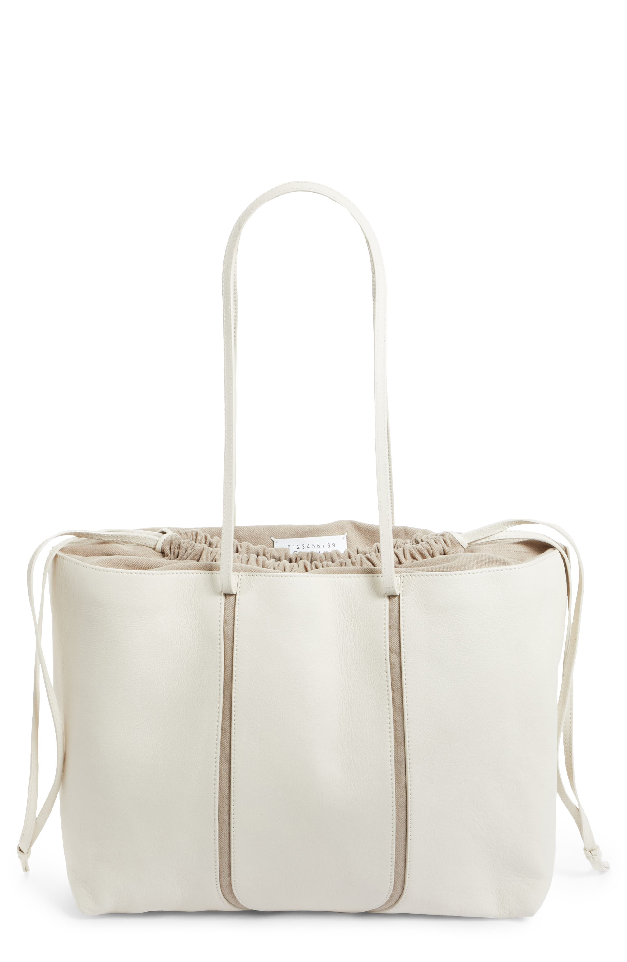 Calfskin Leather Tote,                         Main,                         color, Cream