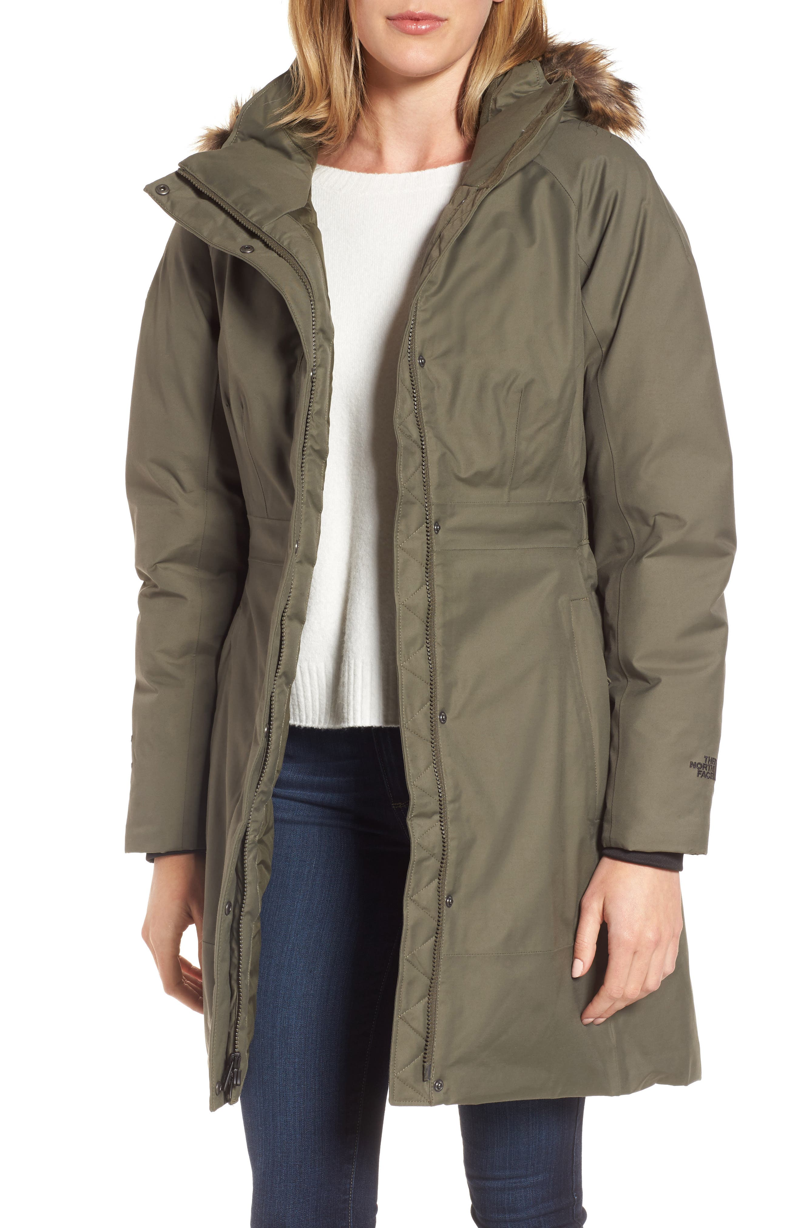 Arctic II Waterproof 550-Fill-Power Down Parka with Faux Fur Trim,                         Main,                         color, New Taupe Green