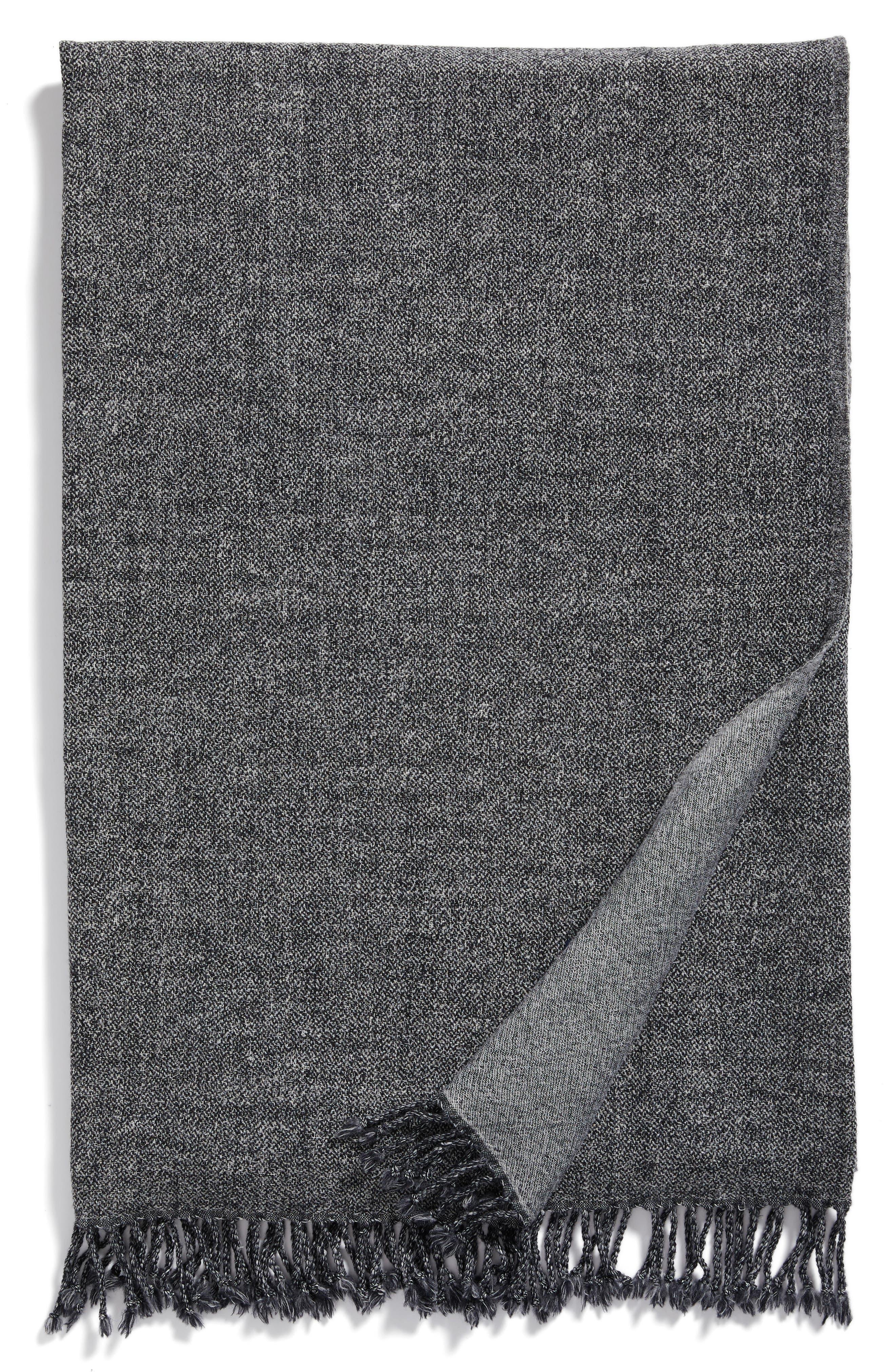 Blurred Herringbone Merino Wool Throw,                         Main,                         color, Blurred Herringbone Grey