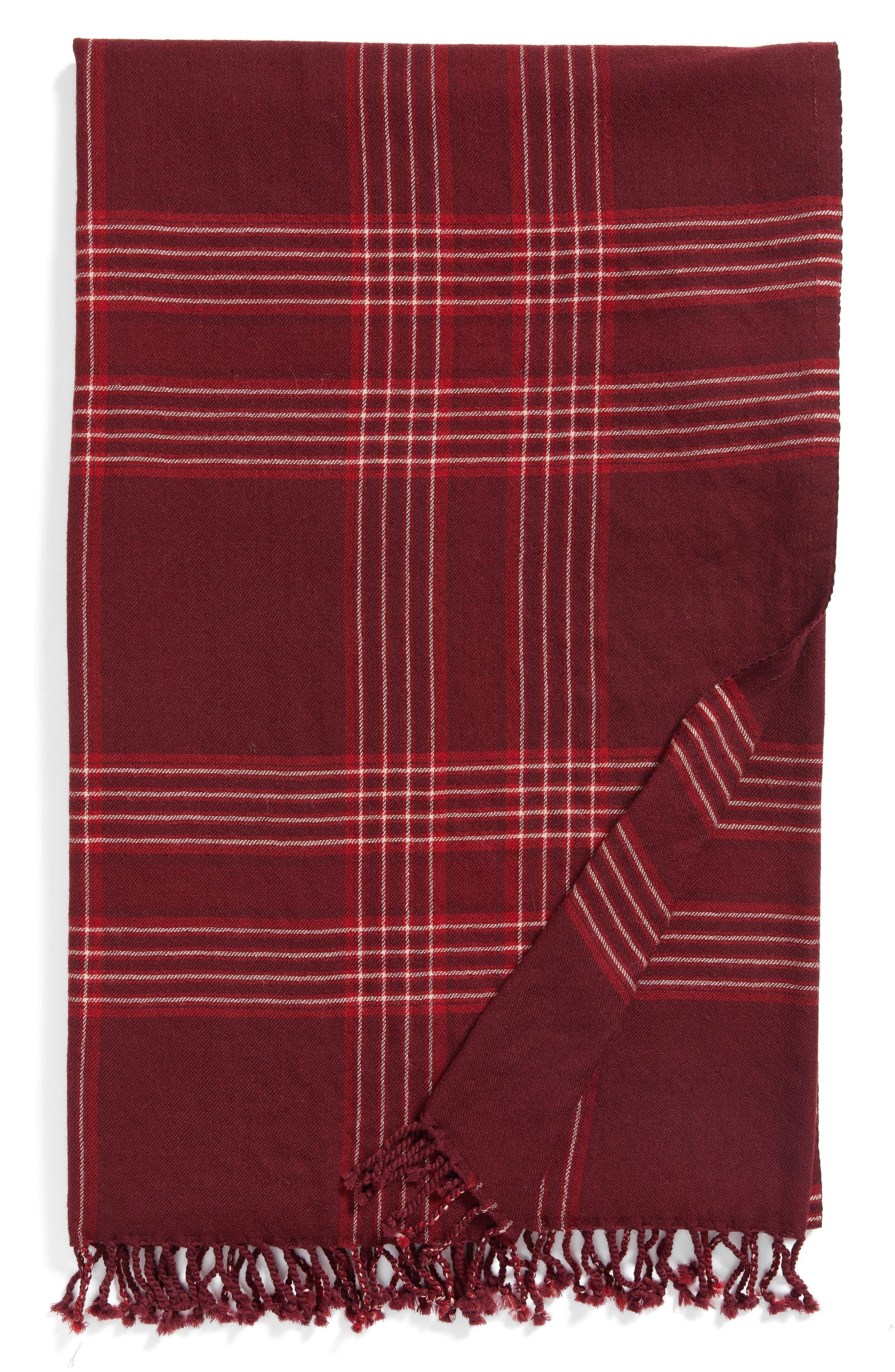 Windowpane Double Face Merino Wool Throw,                         Main,                         color, Raspberry Windowpane