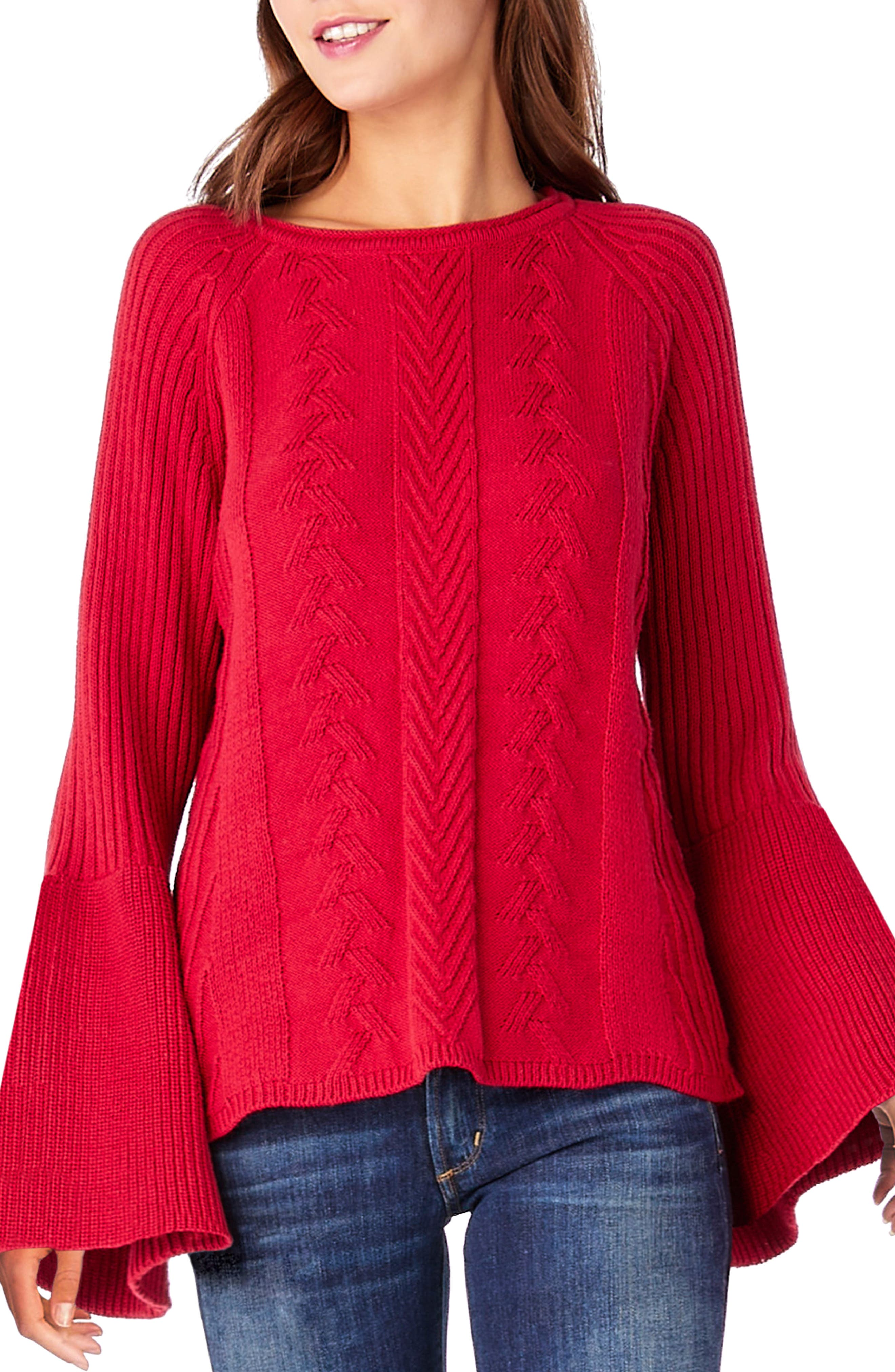 Bell Sleeve Knit Sweater,                         Main,                         color, Ruby